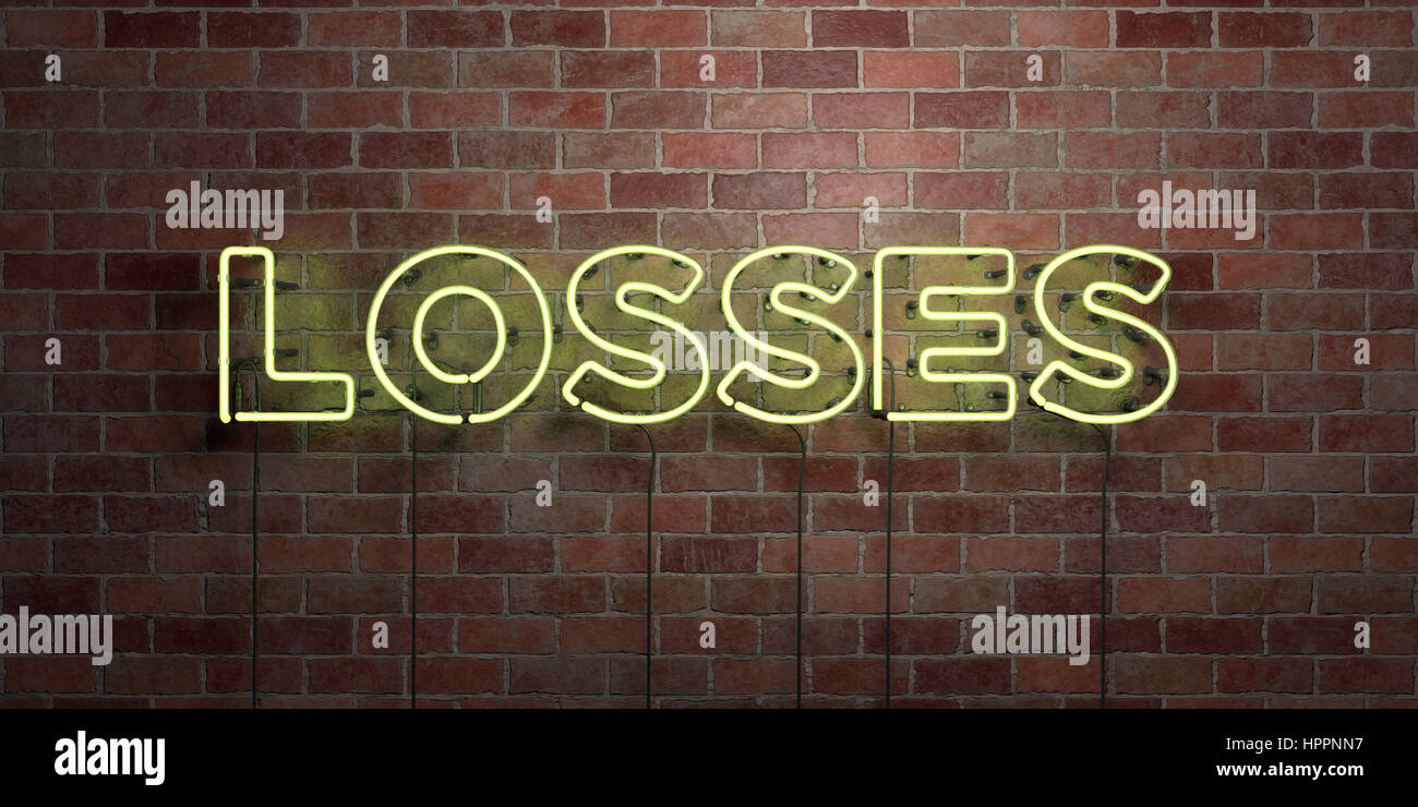 LOSSES - fluorescent Neon tube Sign on brickwork - Front view - 3D rendered royalty free stock picture. Can be used - Stock Image
