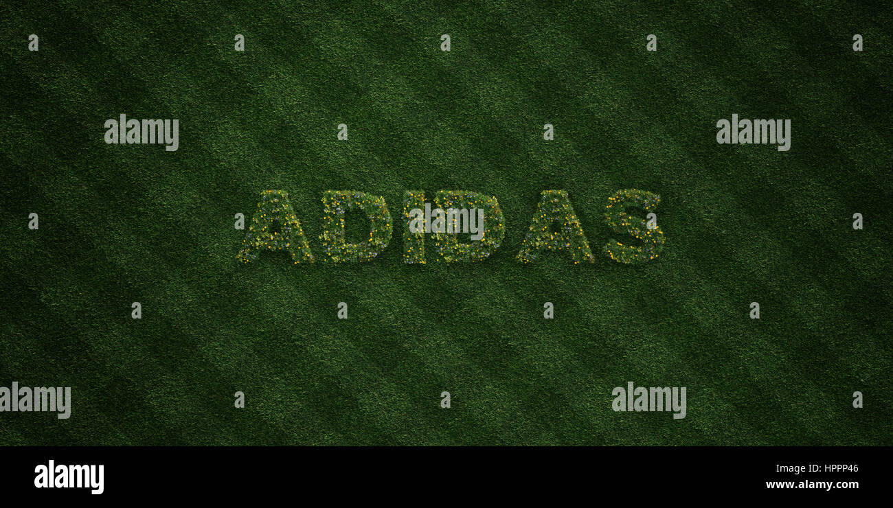 Adidas Fresh Grass Letters With Flowers And Dandelions 3d Stock Photo Alamy