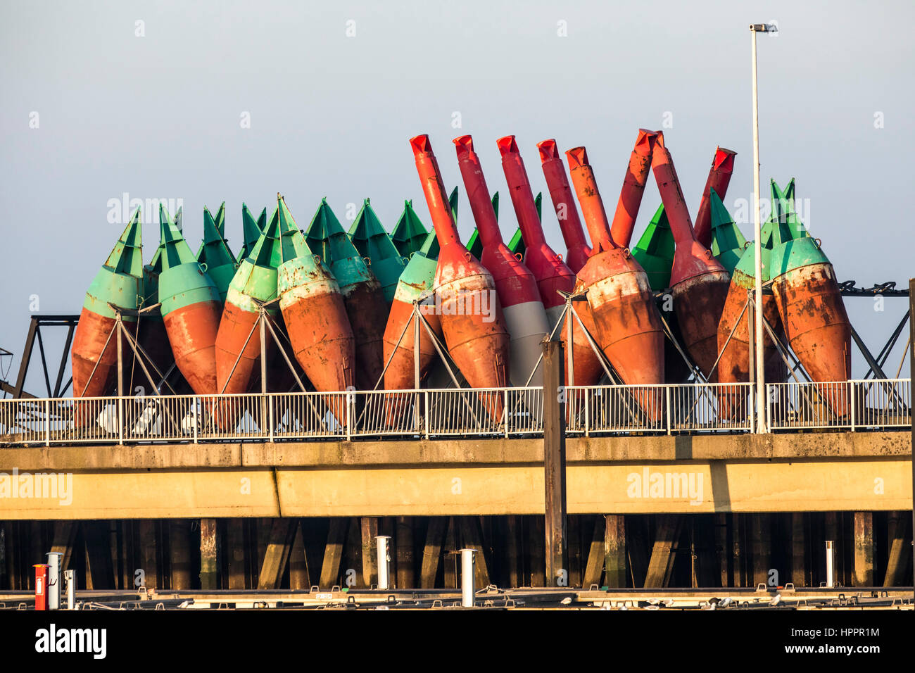 Sea marker, buoy age, navigation marks, buoys, maintenance area of the waterway and shipping authority, Cuxhaven, - Stock Image