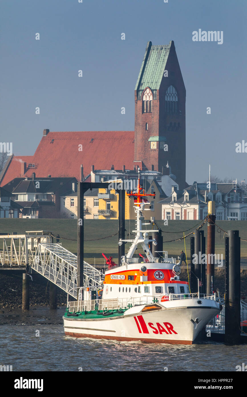 Search and rescue, SAR boat Hermann Helms, port of Cuxhaven, Germany, north sea coast,  St. Petri church, - Stock Image