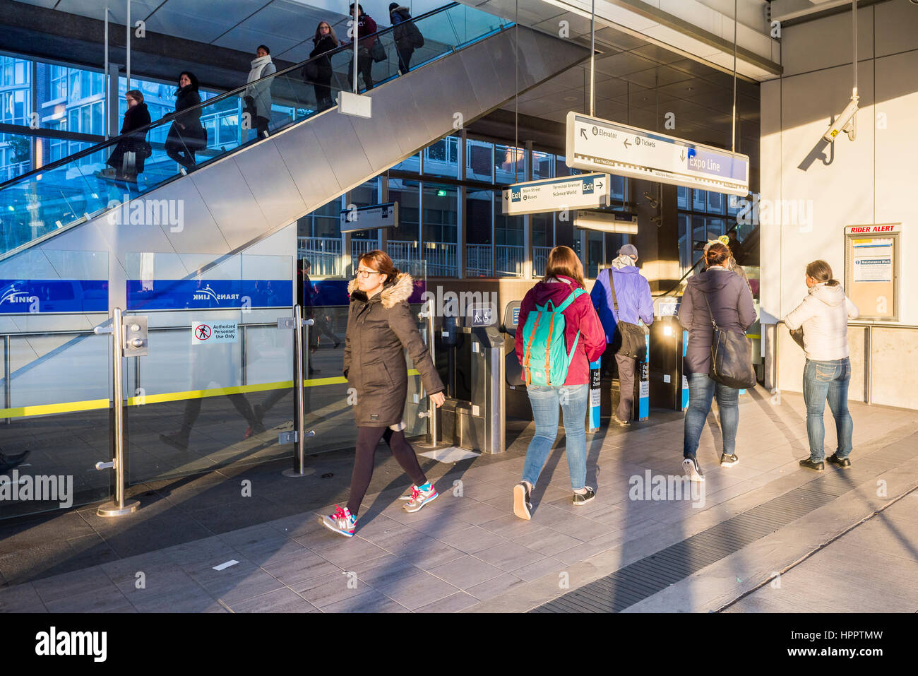 Commuters at Main Street Skytrain Station, Vancouver, British Columbia, Canada. Stock Photo