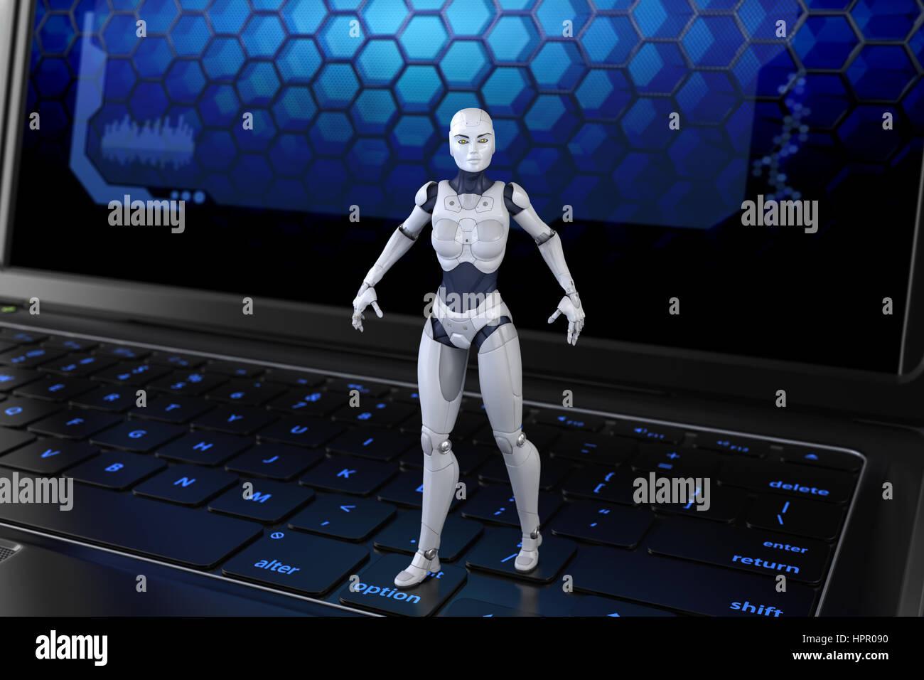 Robot standing on keyboard. 3D illustration - Stock Image