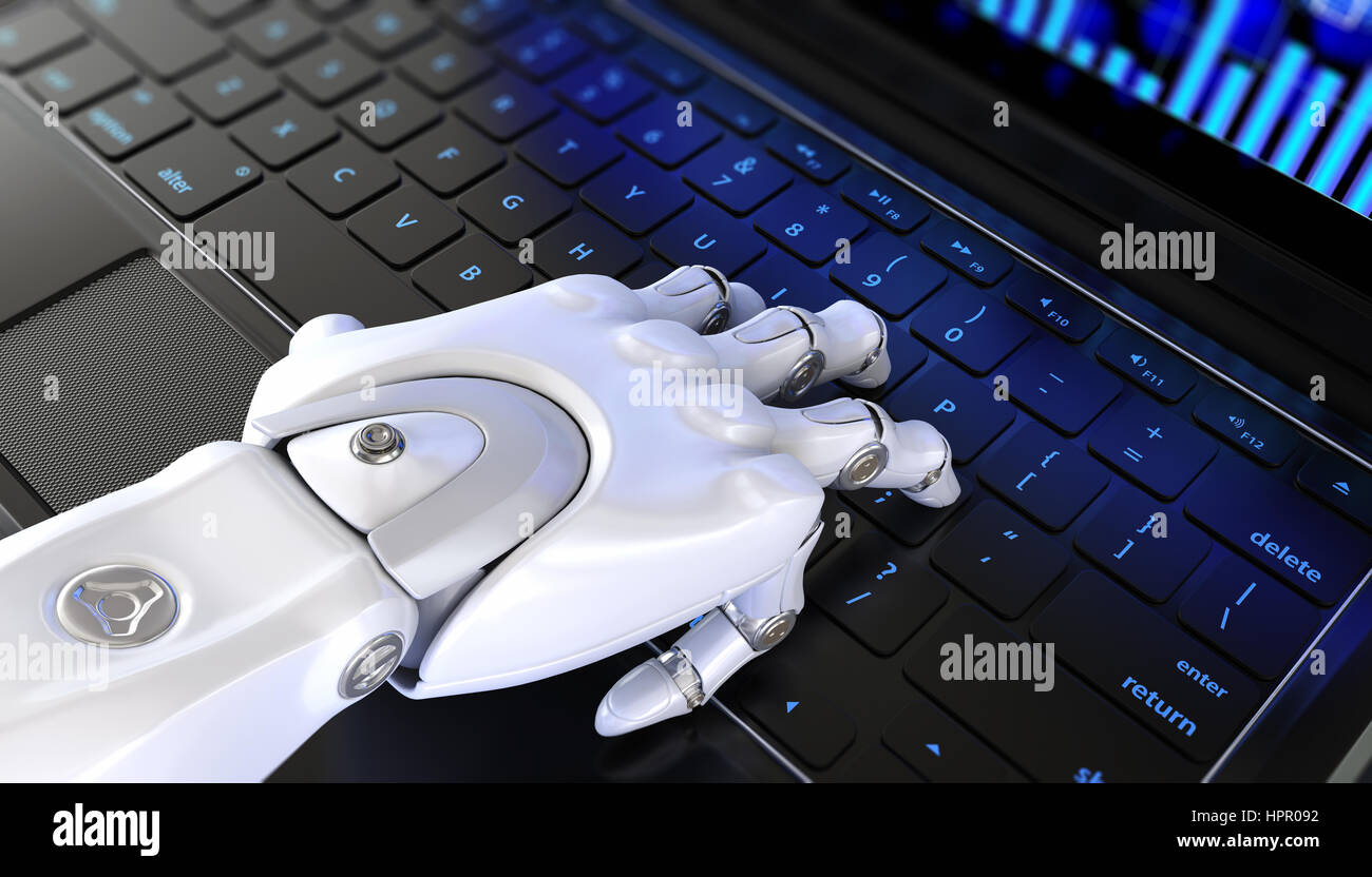 Robot's hand types on keyboard. 3D illustration - Stock Image