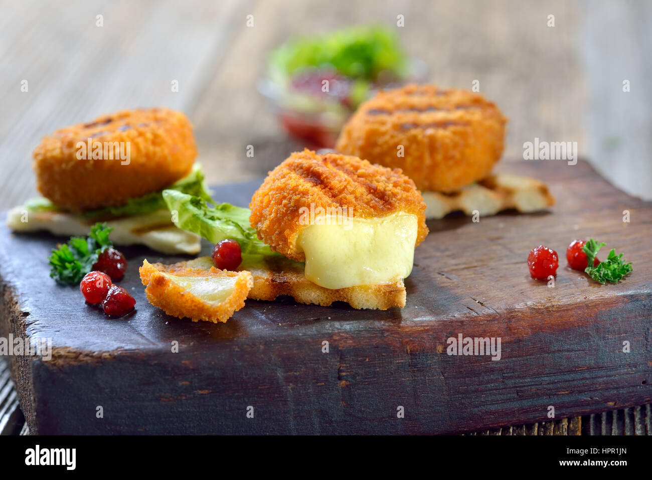Toasted panini triangles with breaded mini camembert cheese loaves, cranberries and iceberg lettuce served on a - Stock Image