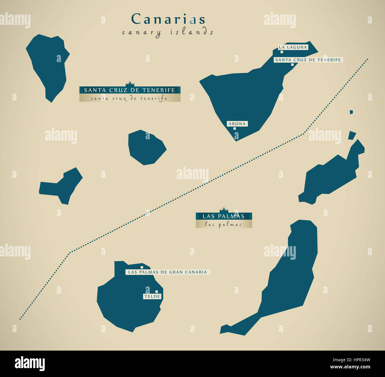 modern map canary islands spain es illustration stock image