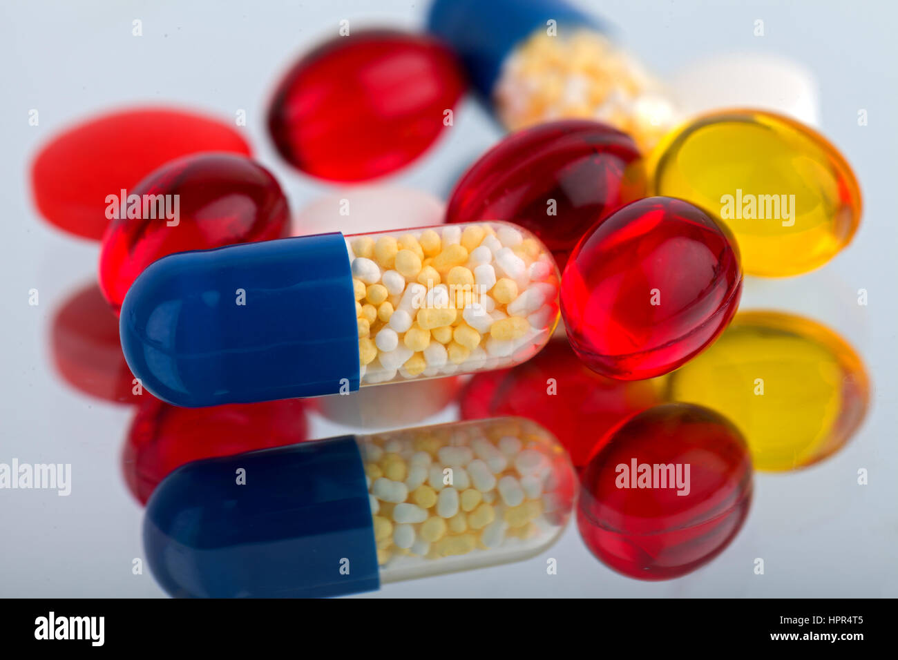 Picture of a colourful pills and capsules - Stock Image