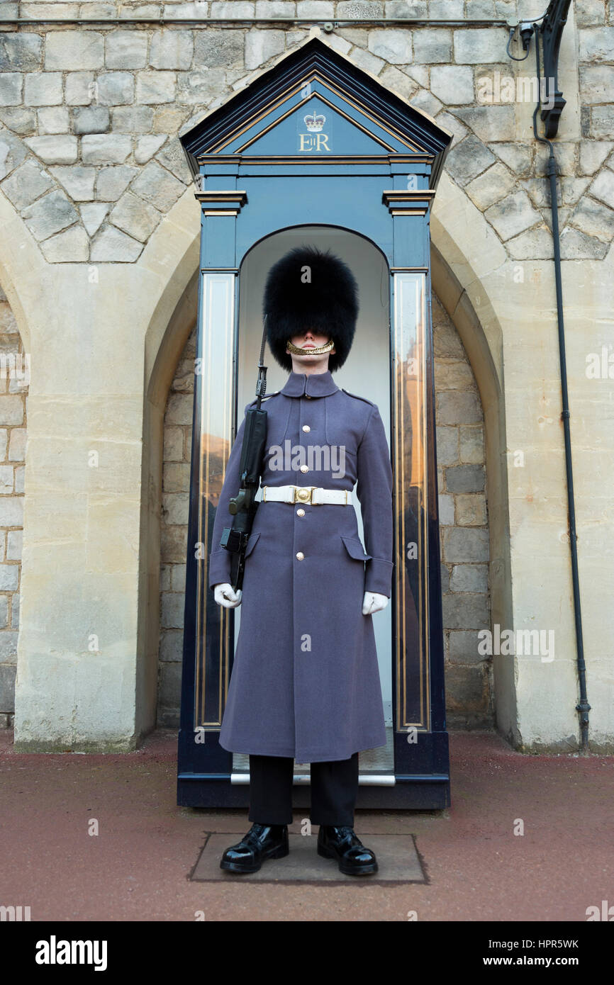 British Army soldier of the Scots Guards / guard standing with a sentry box in the courtyard of Windsor Castle, - Stock Image