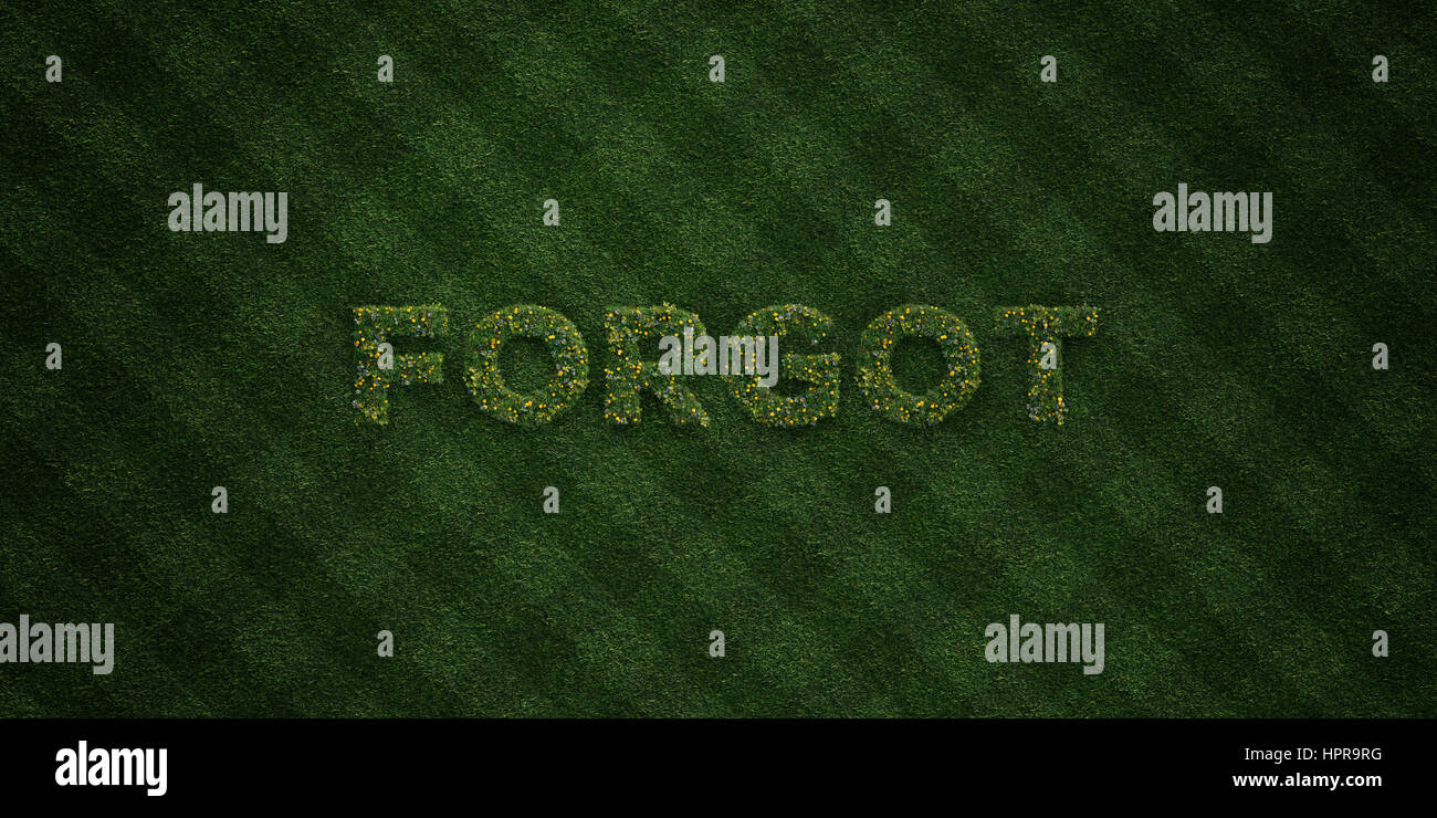 FORGOT - fresh Grass letters with flowers and dandelions - 3D rendered royalty free stock image. Can be used for - Stock Image