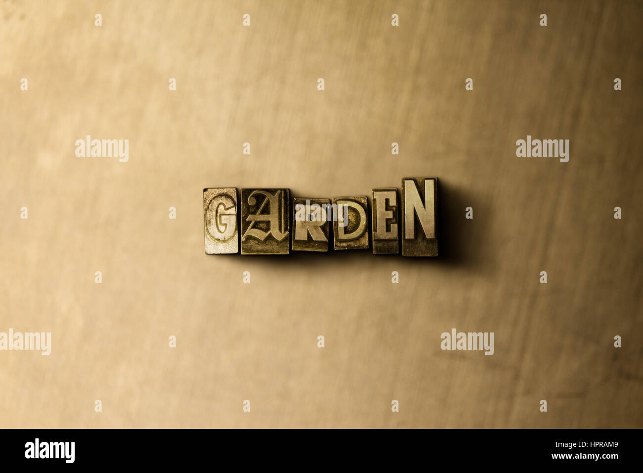 GARDEN - close-up of grungy vintage typeset word on metal backdrop ...