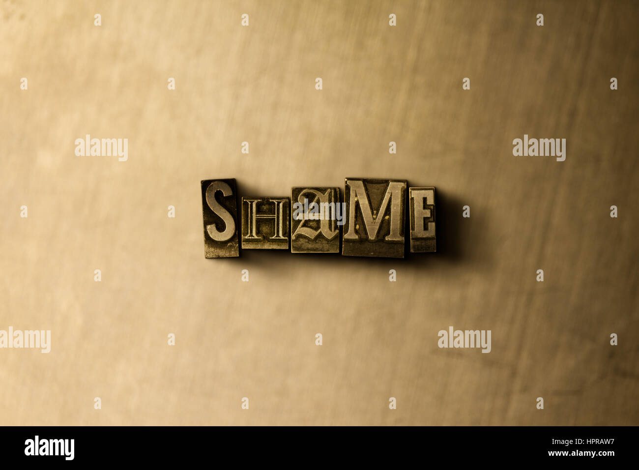 SHAME - close-up of grungy vintage typeset word on metal backdrop. Royalty free stock illustration.  Can be used - Stock Image