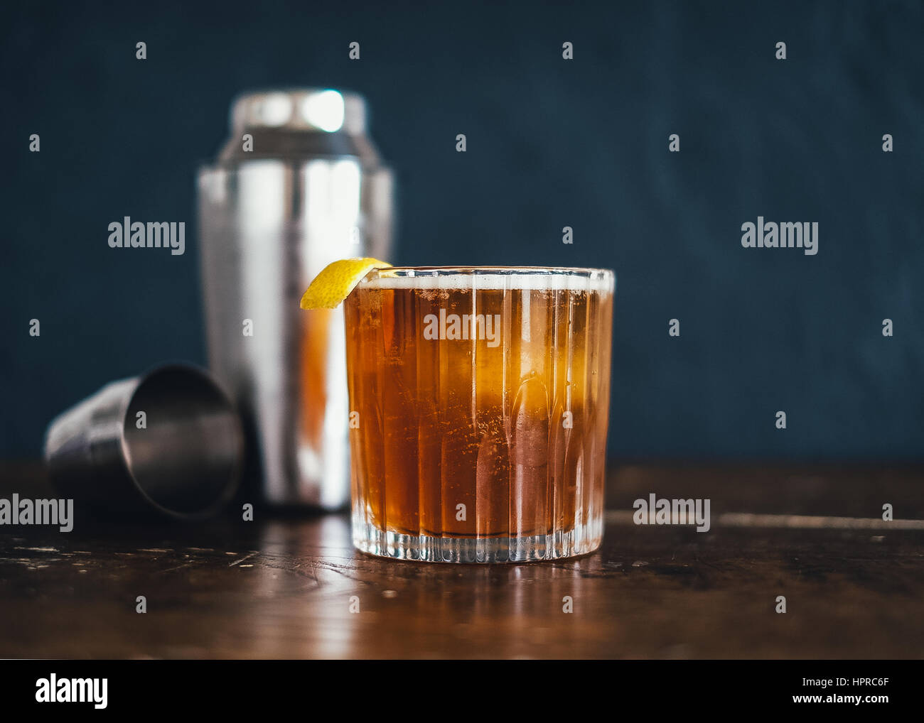 A finely made craft cocktail, an old fashioned - Stock Image