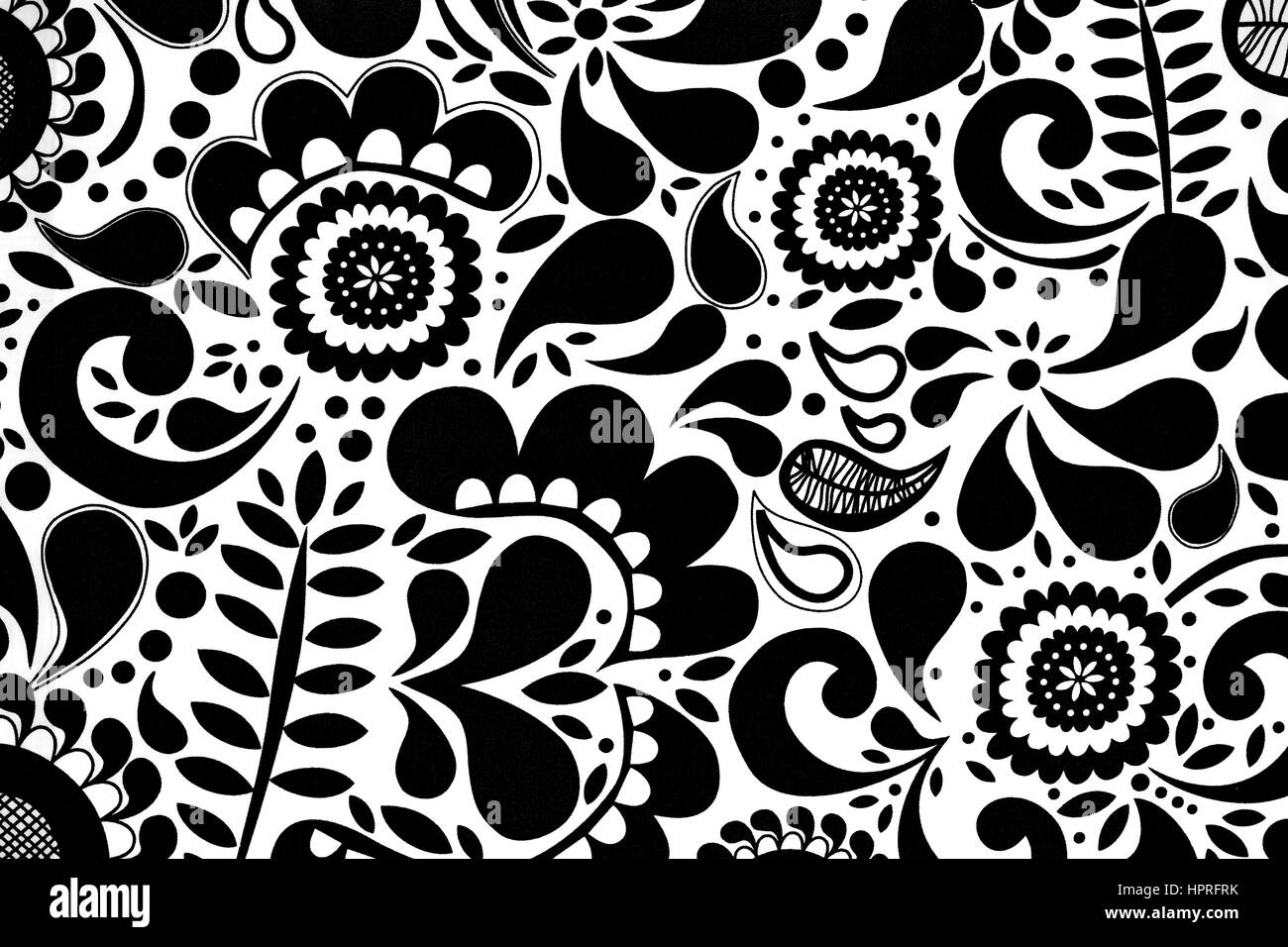 abstract seamless black and white floral pattern stock image