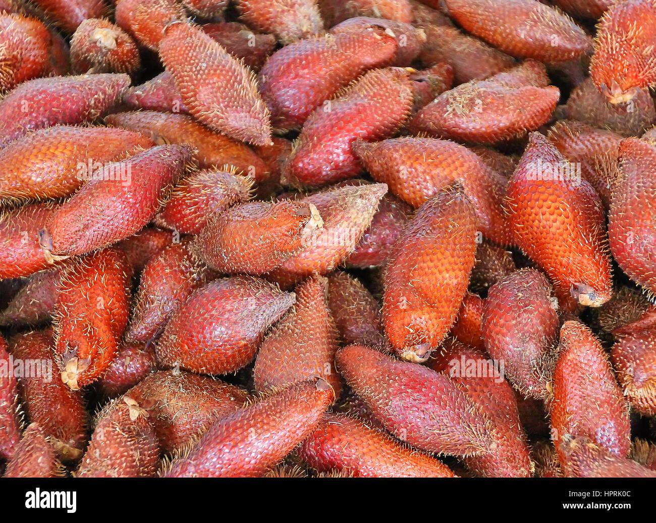 Salak fruit or Snake Fruit in Thai Local Market - Stock Image