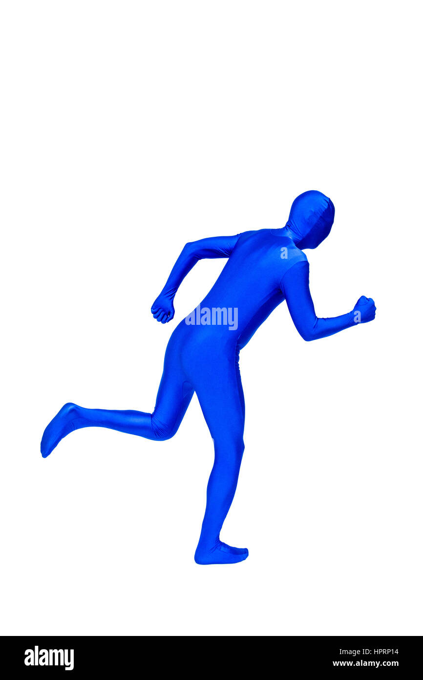 Mysterious blue man in morphsuit shows running isolated on white Stock Photo