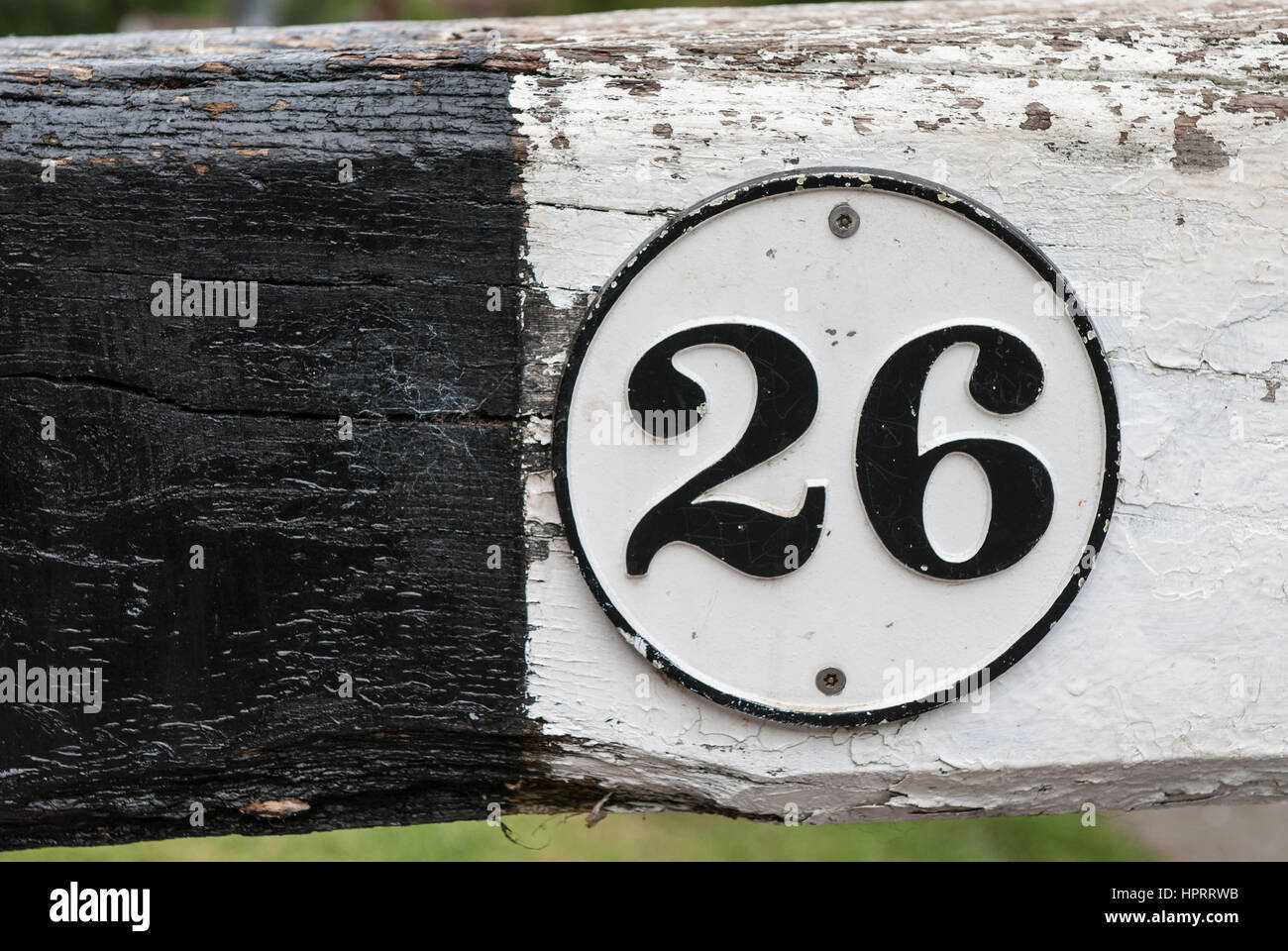 The number 26 black on white in a circular border painted against a white and black wooden background. - Stock Image