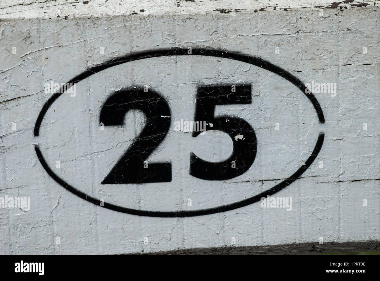 The number 25 black on white in an oval border painted against a white wooden background. - Stock Image