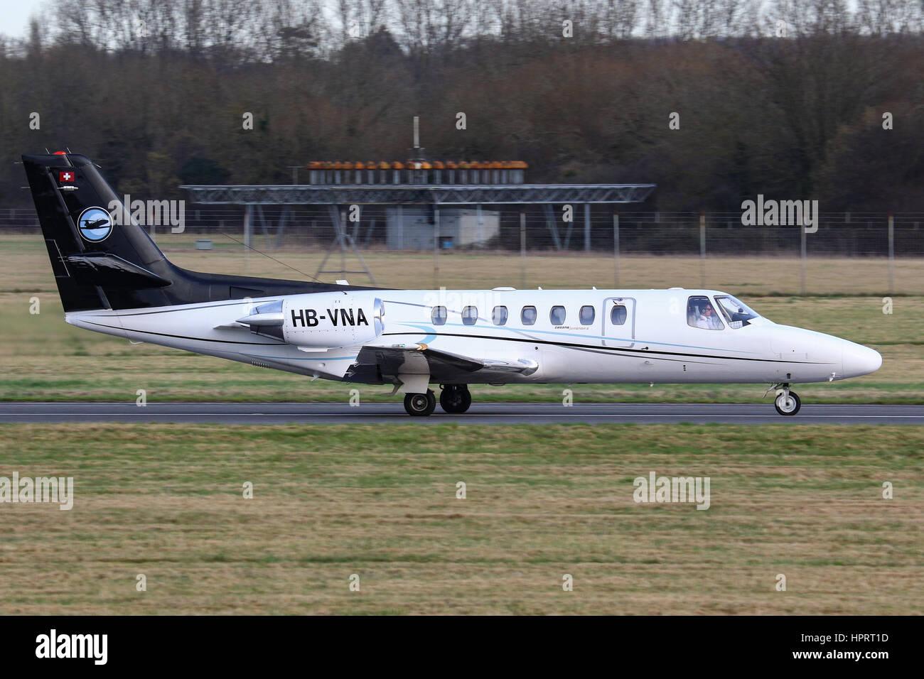 Cessna Citation 560 HB-VNA departing Southampton Airport, UK - Stock Image