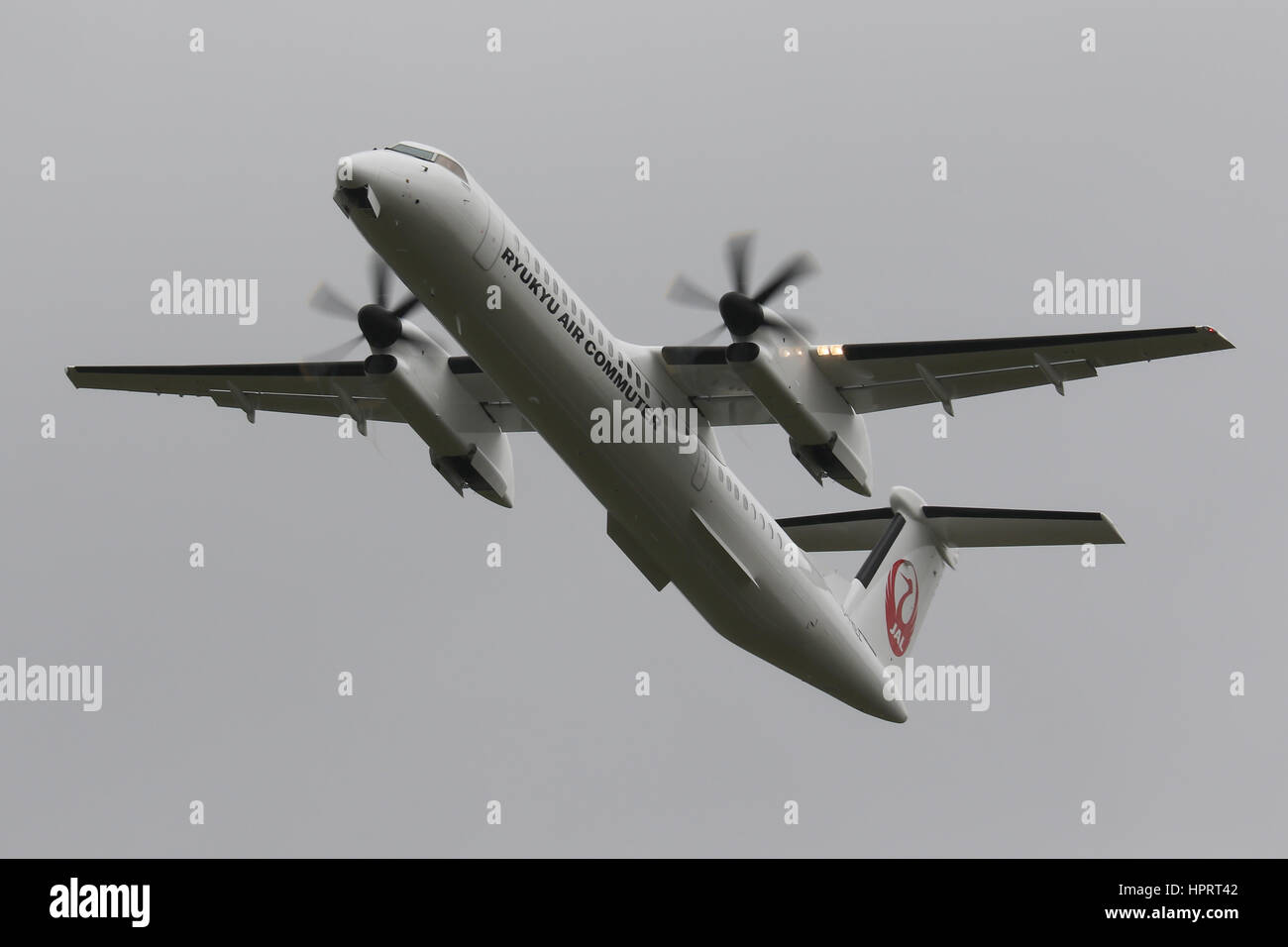 Ryukyu Air Commuter Bombardier Dash-8 Q400 departing Southampton Airport Stock Photo