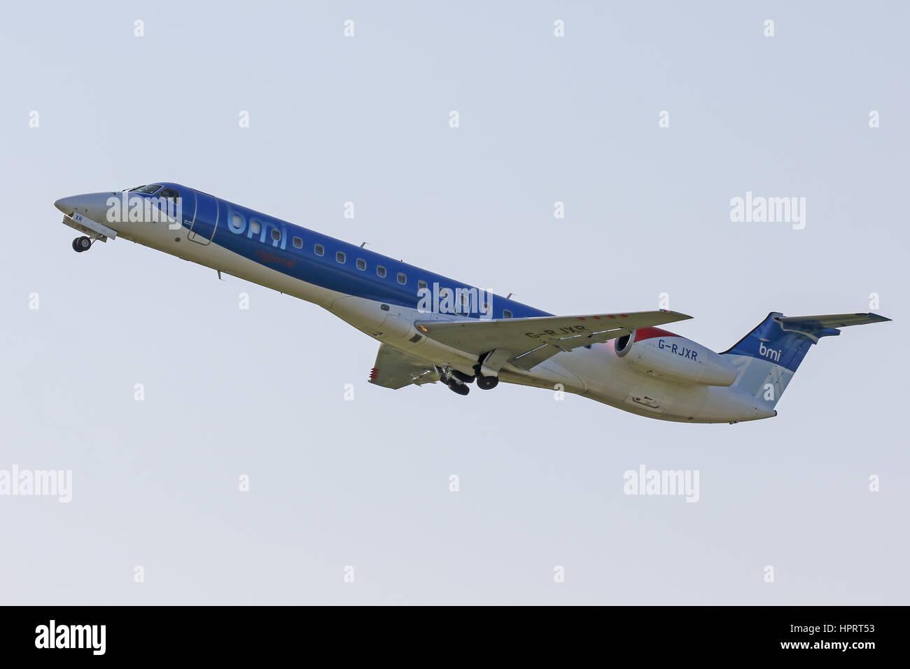 BMI Regional Embraer ERJ-145 G-RJXR departing Southampton Airport - Stock Image