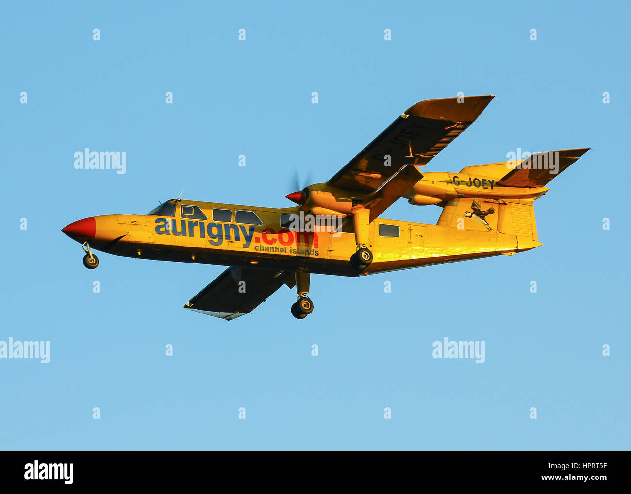 Aurigny Air Services Britten-Norman BN-2A Trislander G-JOEY landing at Southampton Airport - Stock Image
