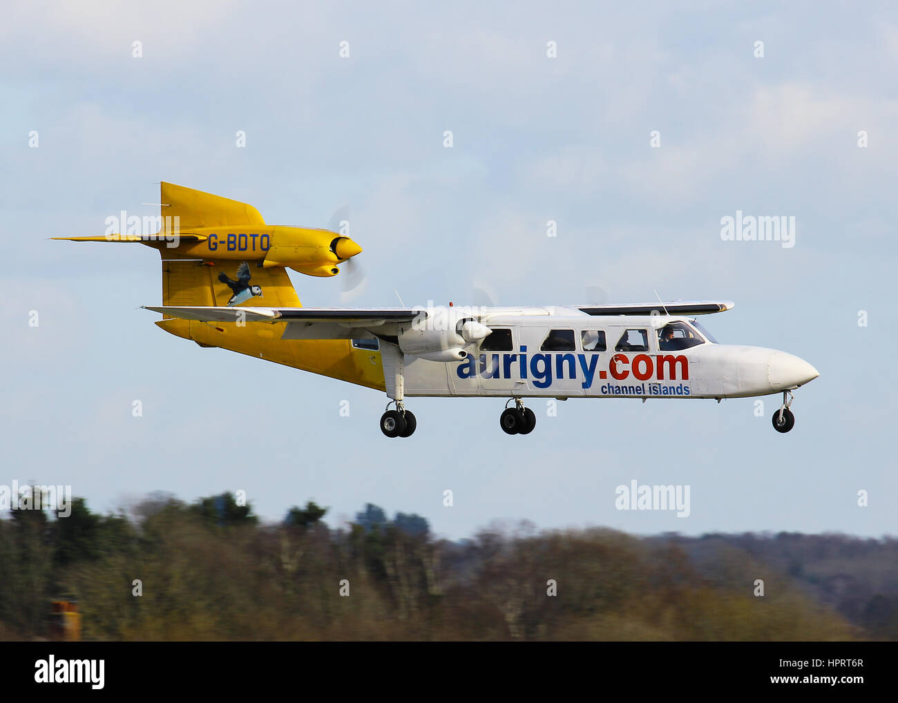 Aurigny Air Services Britten-Norman BN-2A Trislander G-BDTO landing at Southampton Airport Stock Photo