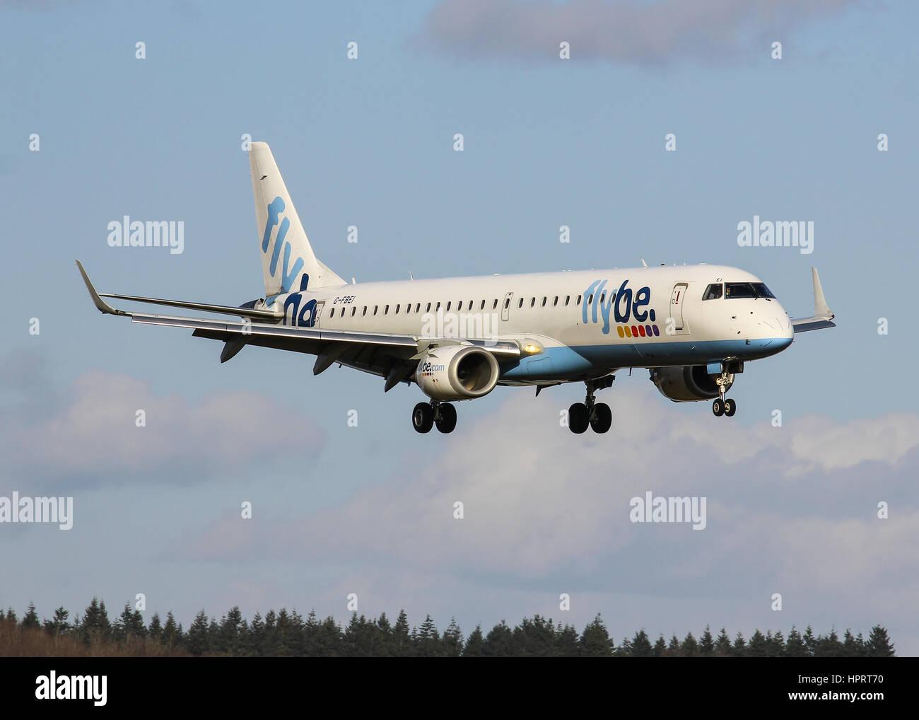 Flybe Embraer ERJ-195LR G-FBEI landing at Southampton Airport - Stock Image