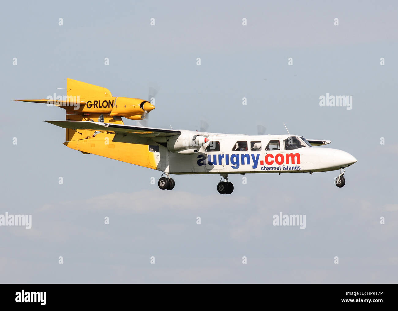 Aurigny Air Services Britten-Norman BN-2A Trislander G-RLON landing at Southampton Airport - Stock Image
