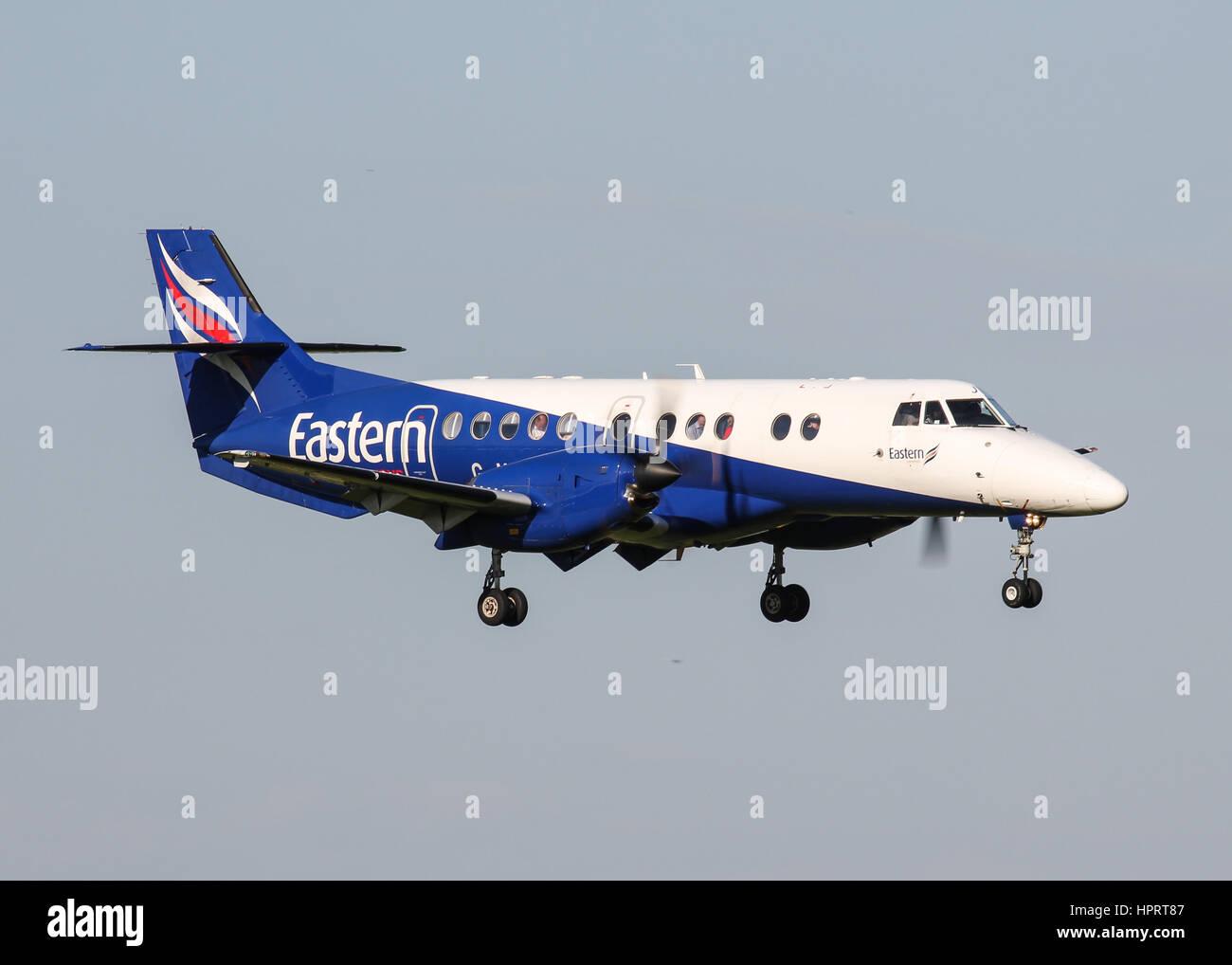 Eastern Airways BAe Jetstream 41 G-MAJL landing at Southampton Airport - Stock Image