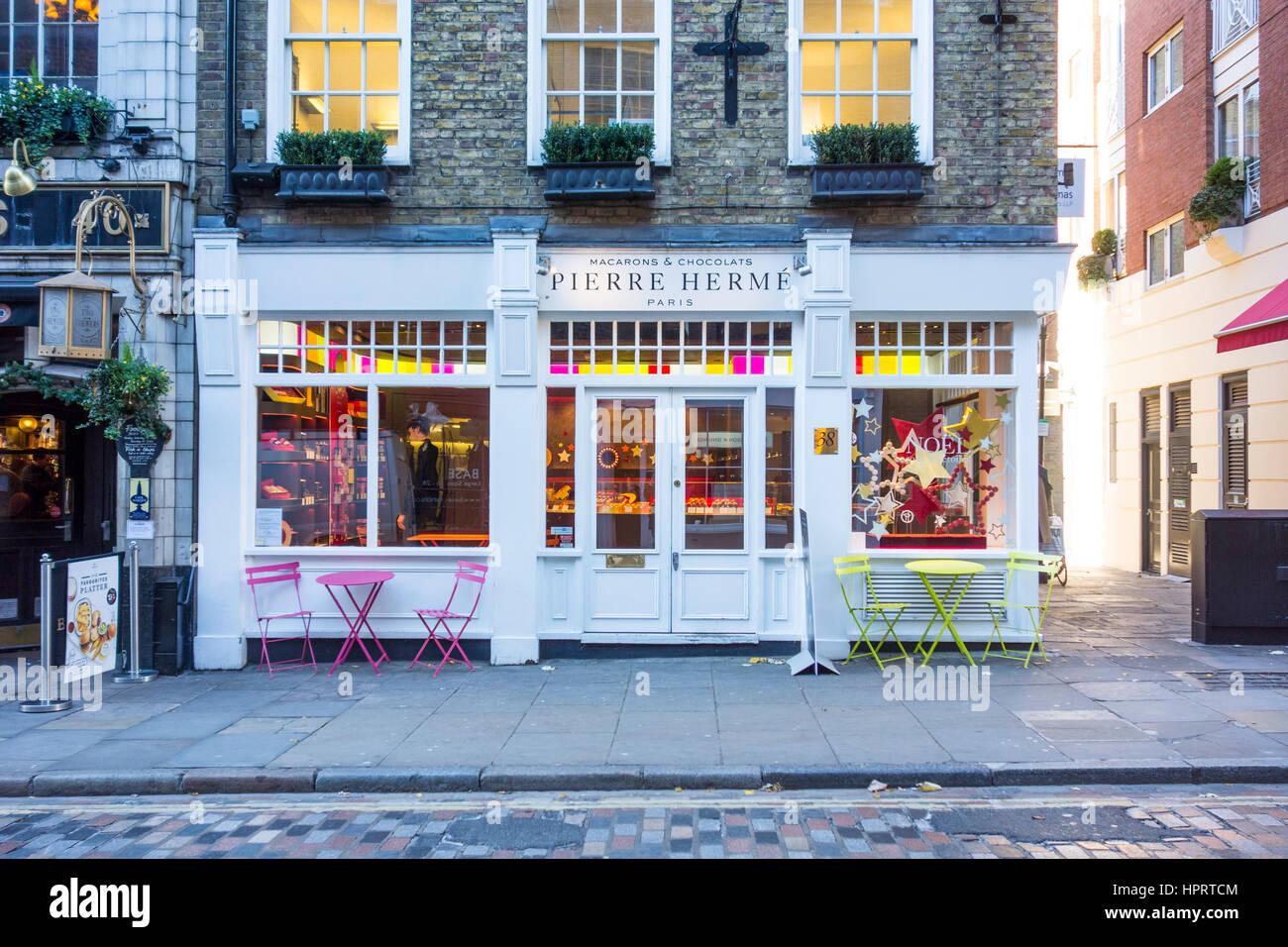 Pierre Herme patisserie shop, Monmouth Street, Seven Dials, Covent Garden, London, UK - Stock Image