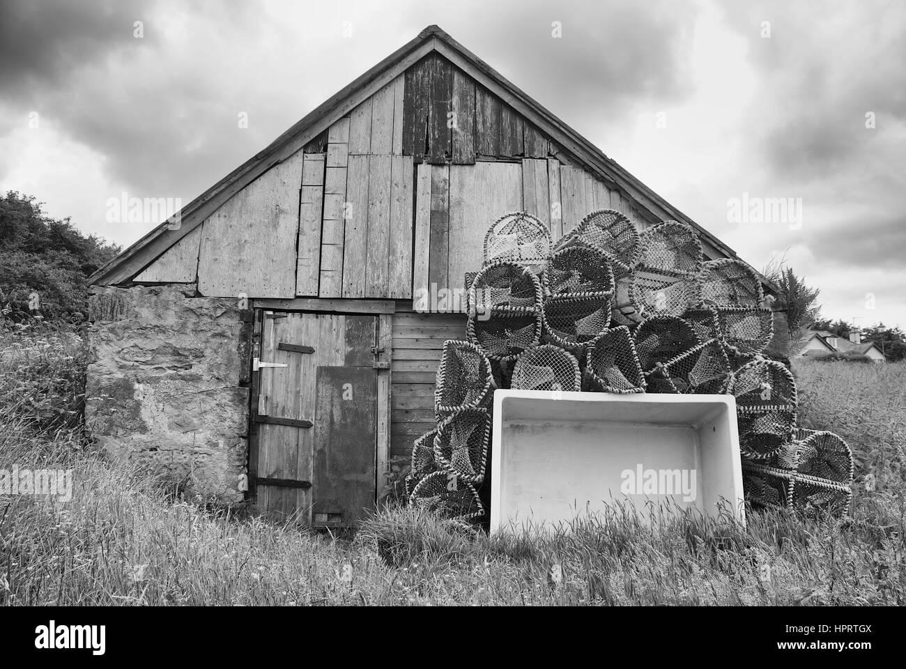 Fishermans building/equipment on Isle of Skye, Scotland - Stock Image