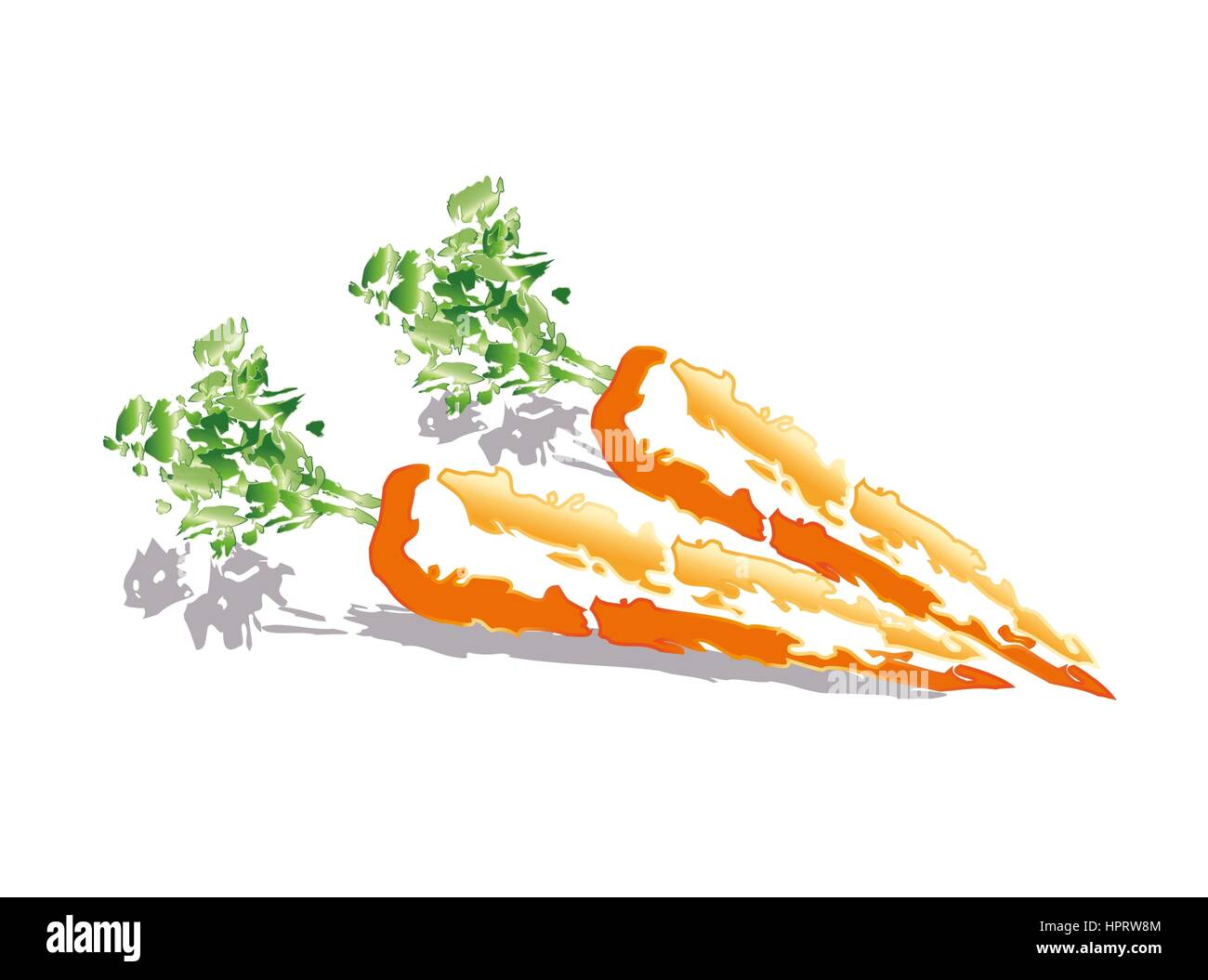 Abstract carrots on white background - Stock Image