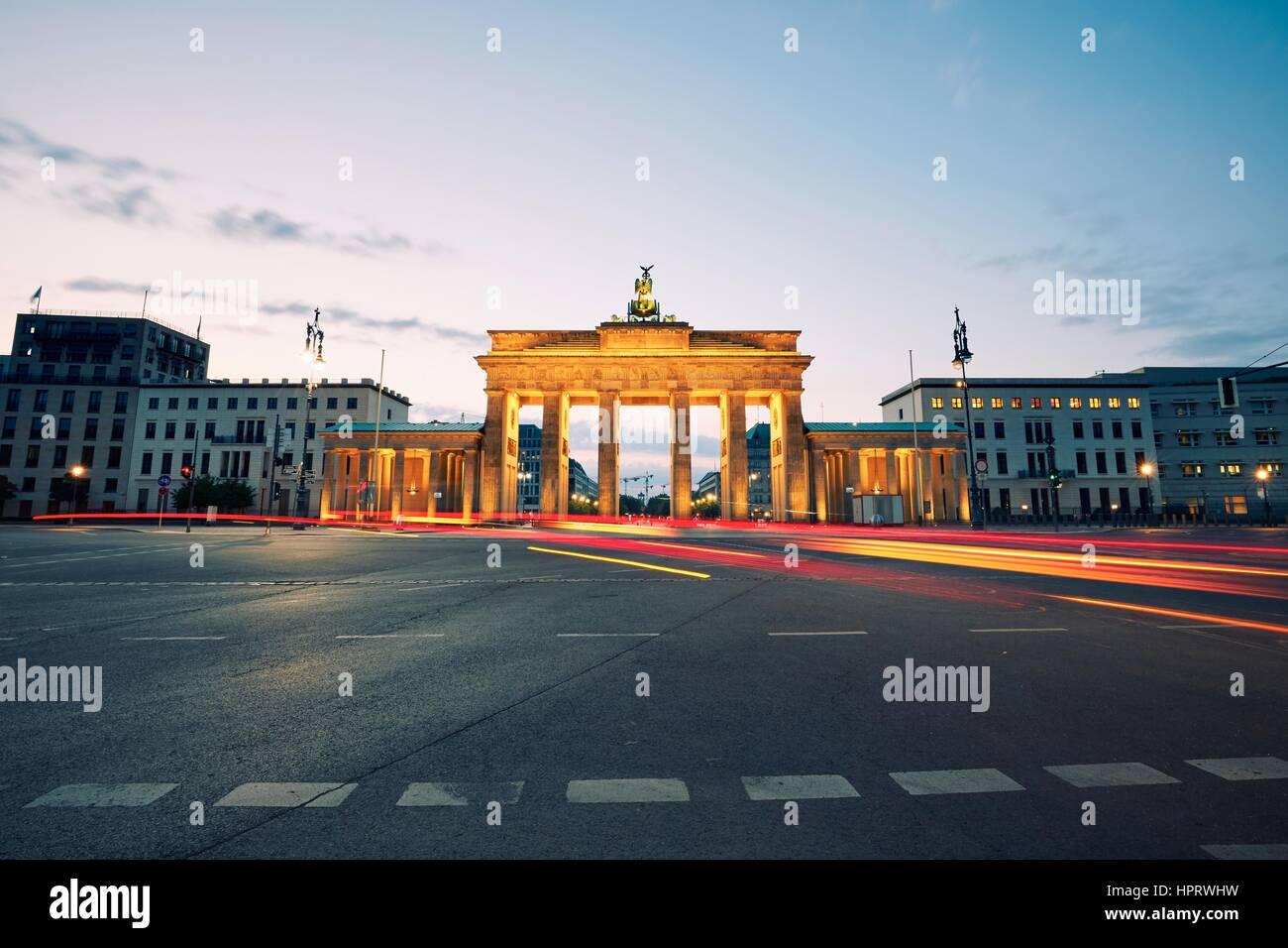 Brandenburg Gate - sunrise in Berlin, Germany - Stock Image