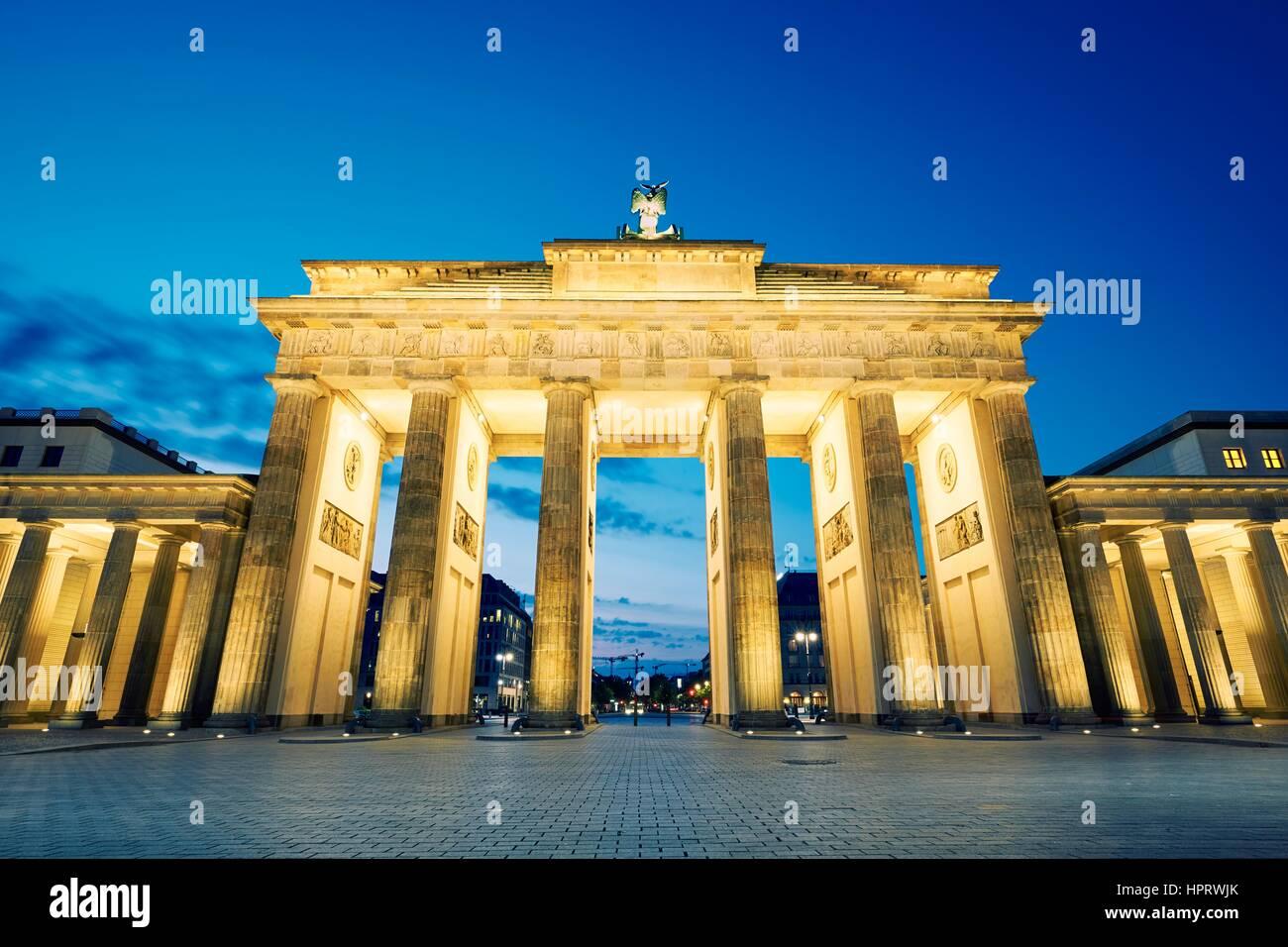 Brandenburg Gate - morning in Berlin, Germany - Stock Image