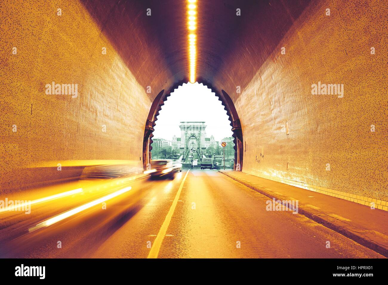 Traffic in urban tunnel - Budapest, Hungary - Stock Image