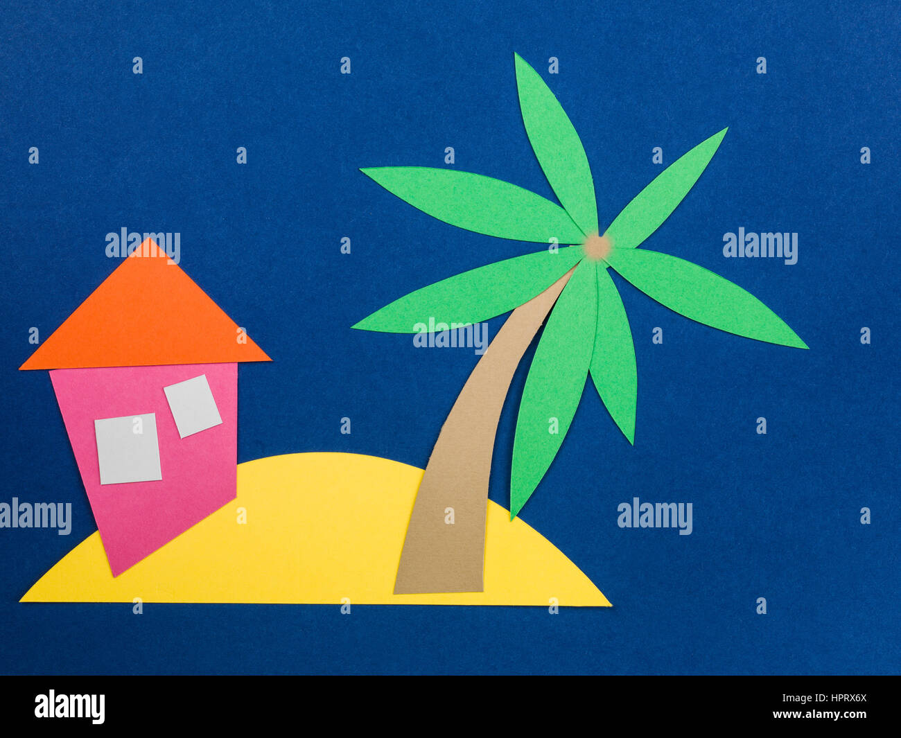 Illustration of a Desert Island with a Palm Tree and a Shack Stock Photo