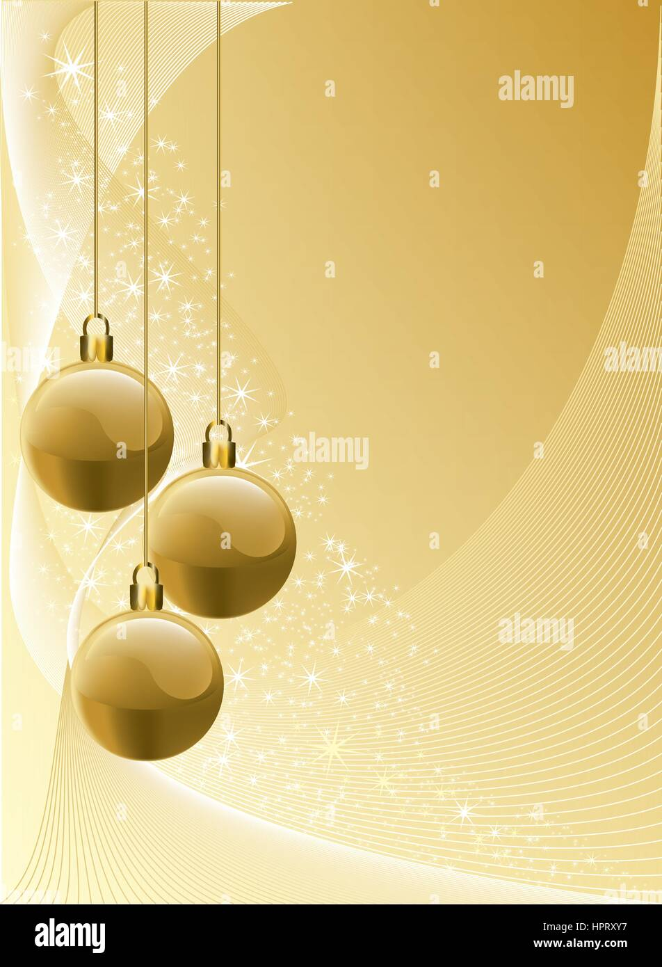 Christmas theme with gold, red and silver baubles, bright stars on blue background. Stock Vector