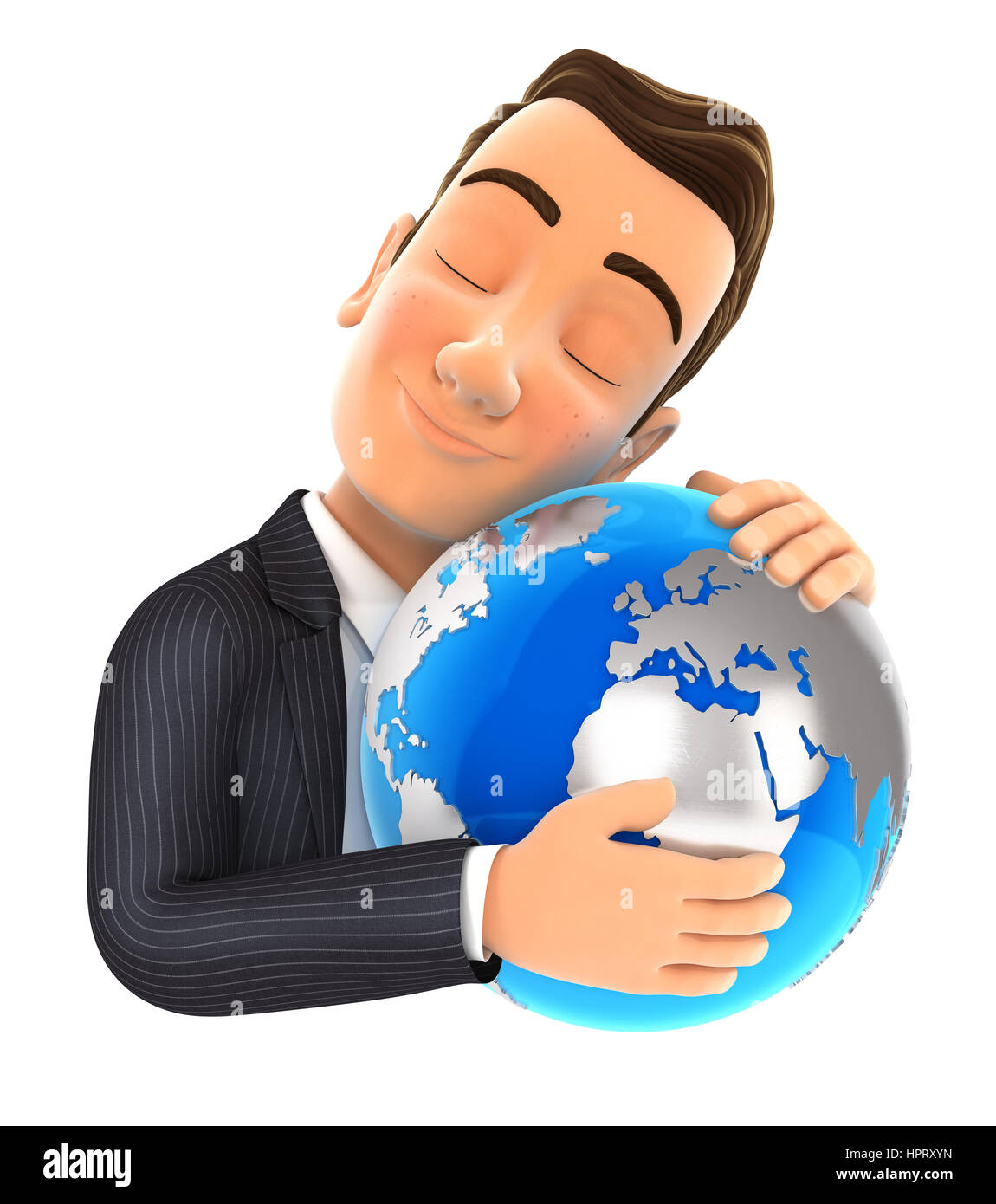 3d businessman hugging the earth, illustration with isolated white background Stock Photo