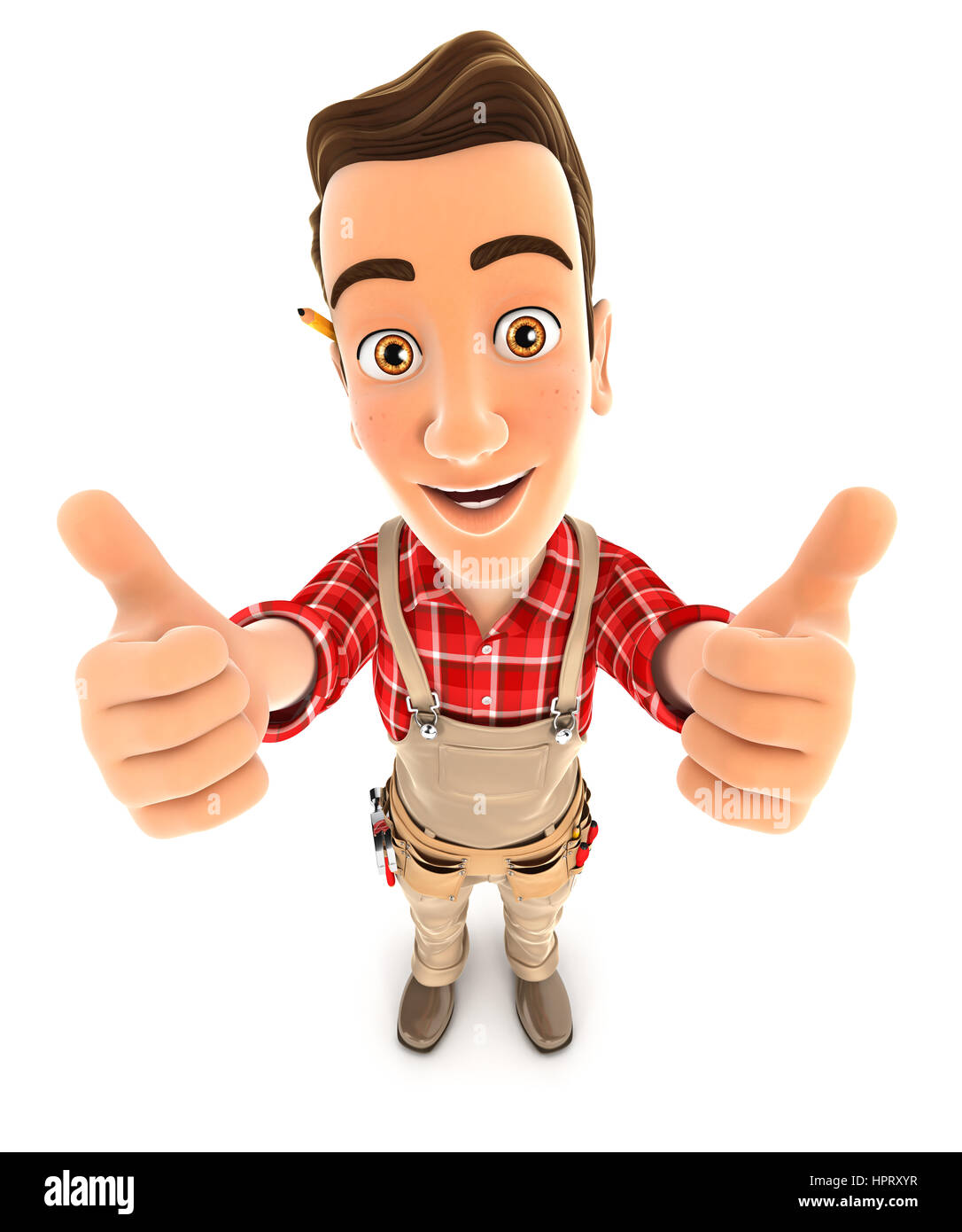3d handyman thumbs up, illustration with isolated white background Stock Photo