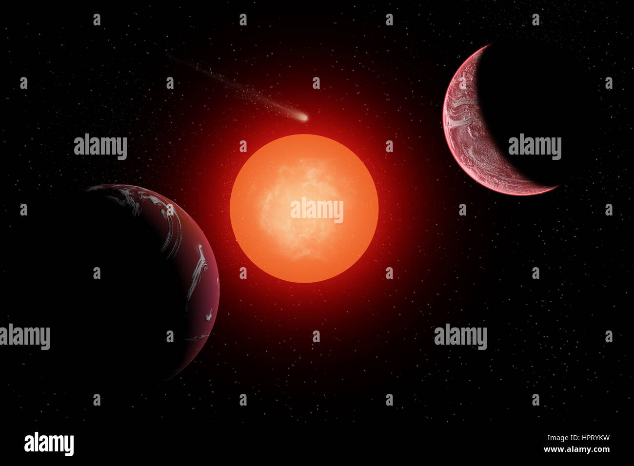 Two Exoplanets In Orbit Around A Red Giant Sun Stock Photo