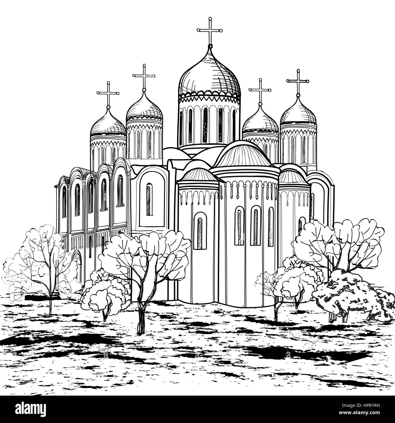 Famous place of Vladimir city. Russian city landmark. Travel Russia engraving background. - Stock Vector