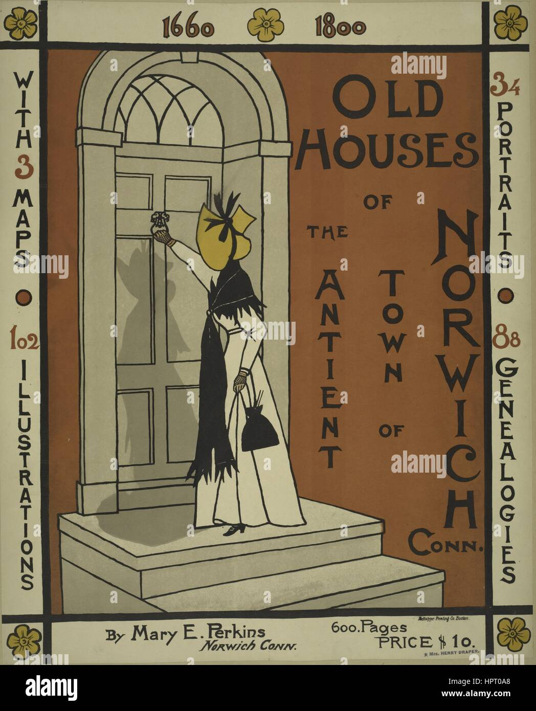 Poster advertising the novel 'Old Houses of the Ancient Town Norwich' by Mary E. Perkins, 1903. From the - Stock Image