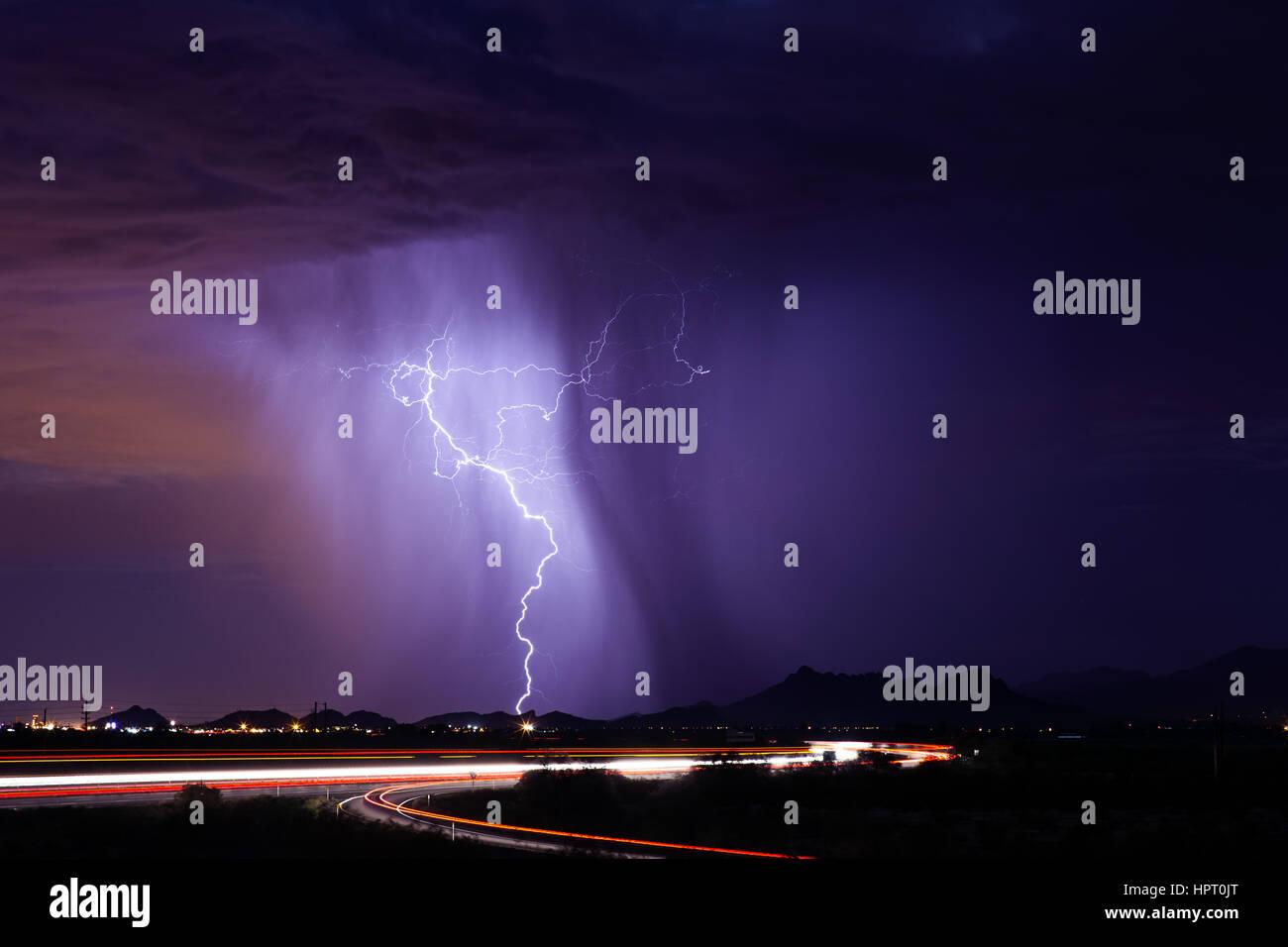thunderstorm with lightning over tucson arizona stock photo