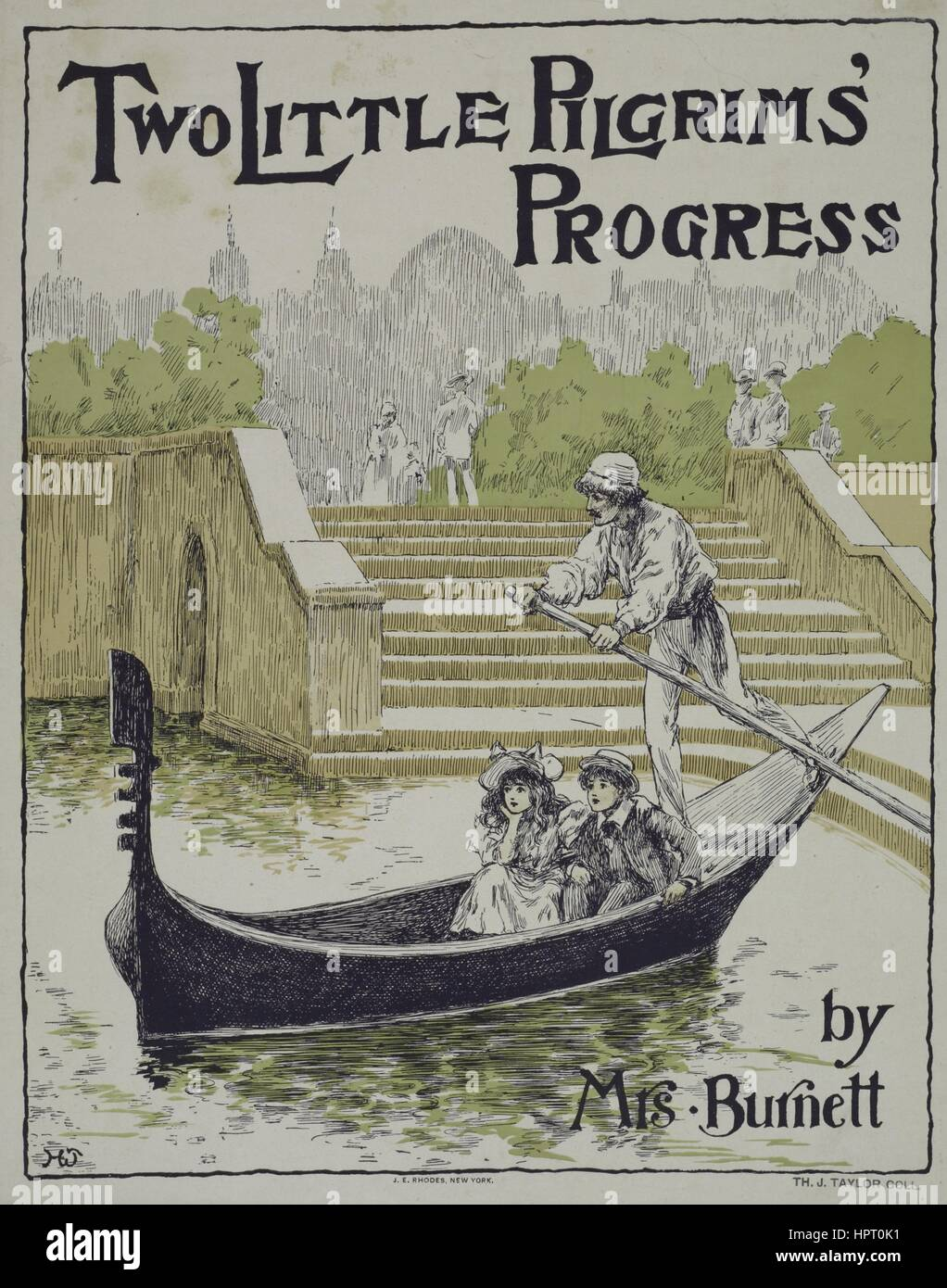 Poster advertisement for a book titled Two Little Pilgrims' Progress by Mrs Burnett which displays two people - Stock Image