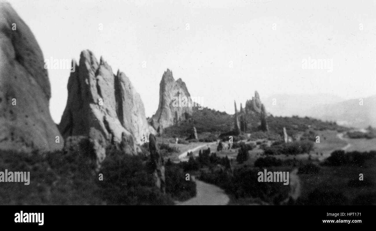 Snapshot image of the Garden of the Gods, Colorado, 1920. - Stock Image