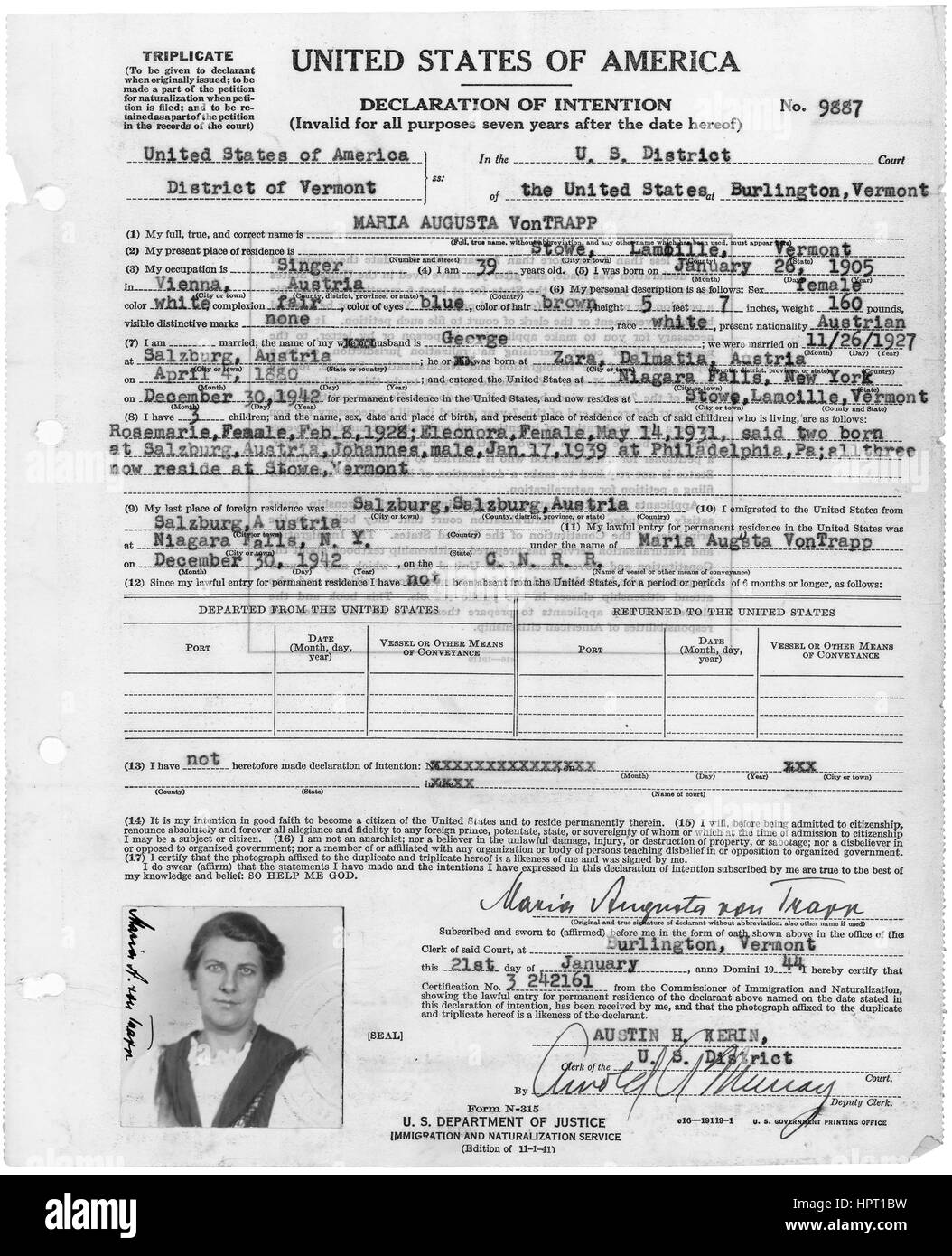 The Declaration of Intention filed by Maria von Trapp of the Trapp Family Singers, Vermont, January 21, 1944. Image Stock Photo