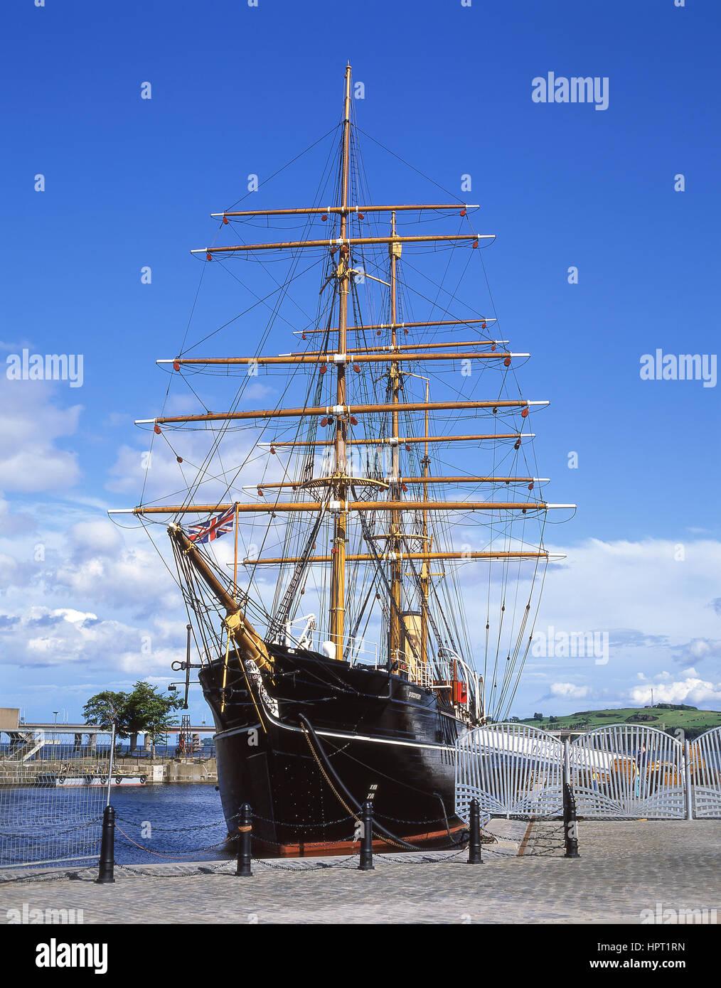 Captain Scott's HMS Discovery ship, Victoria Dock, Dundee, Dundee City, Scotland, United Kingdom - Stock Image