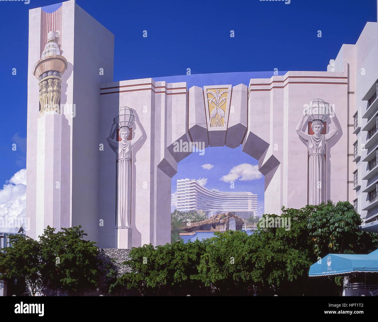 art deco trompe lil mural fontainebleau hotel collins avenue south