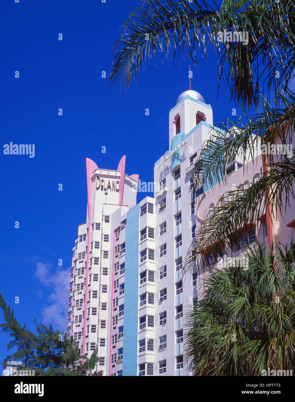 Art Deco buildings, Collins Avenue, Miami Beach, Florida, United States of America - Stock Image