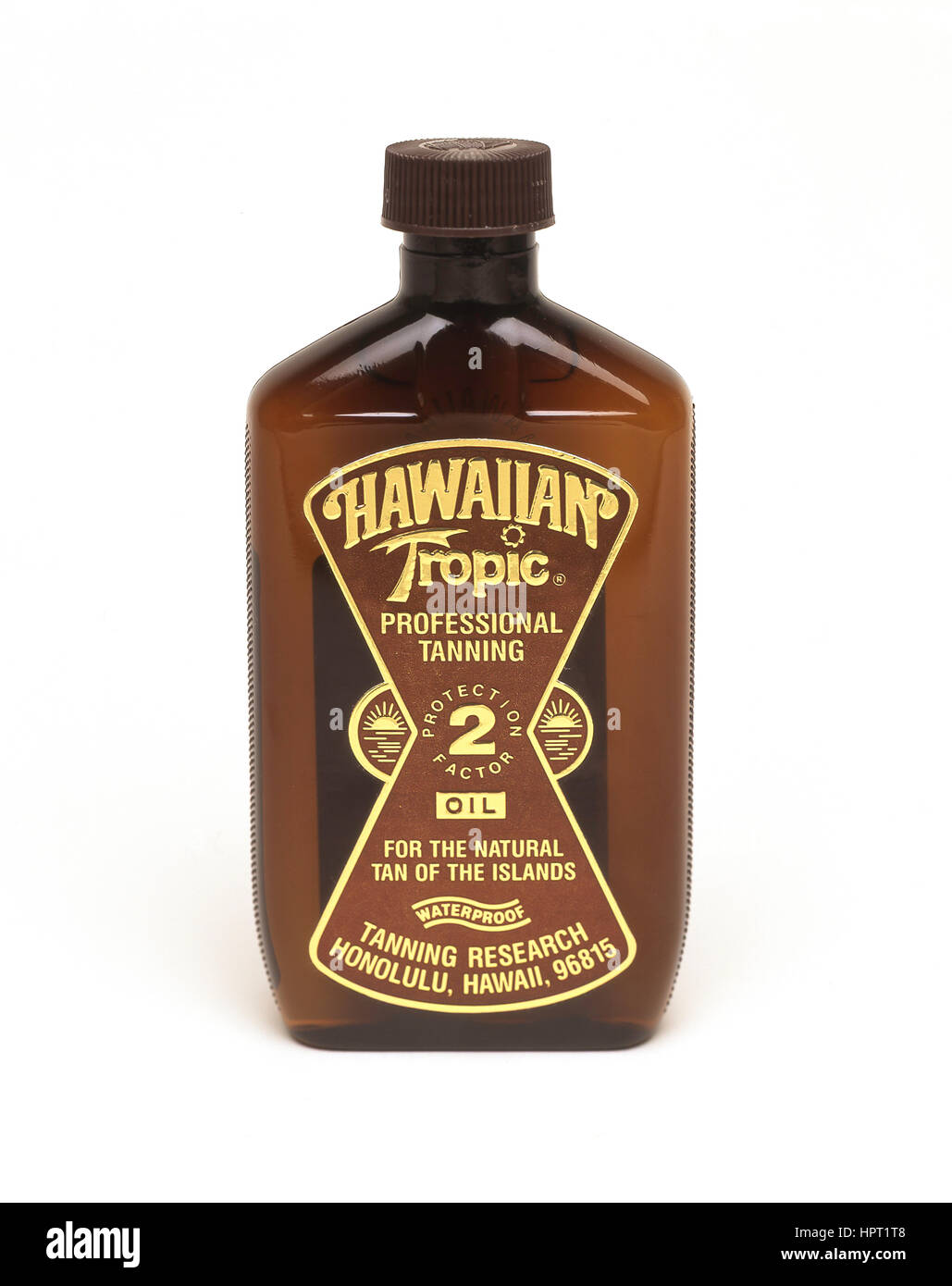 Bottle of Hawaiian Tropic suntan oil, Honolulu, Oahu, Hawaii, United States of America - Stock Image