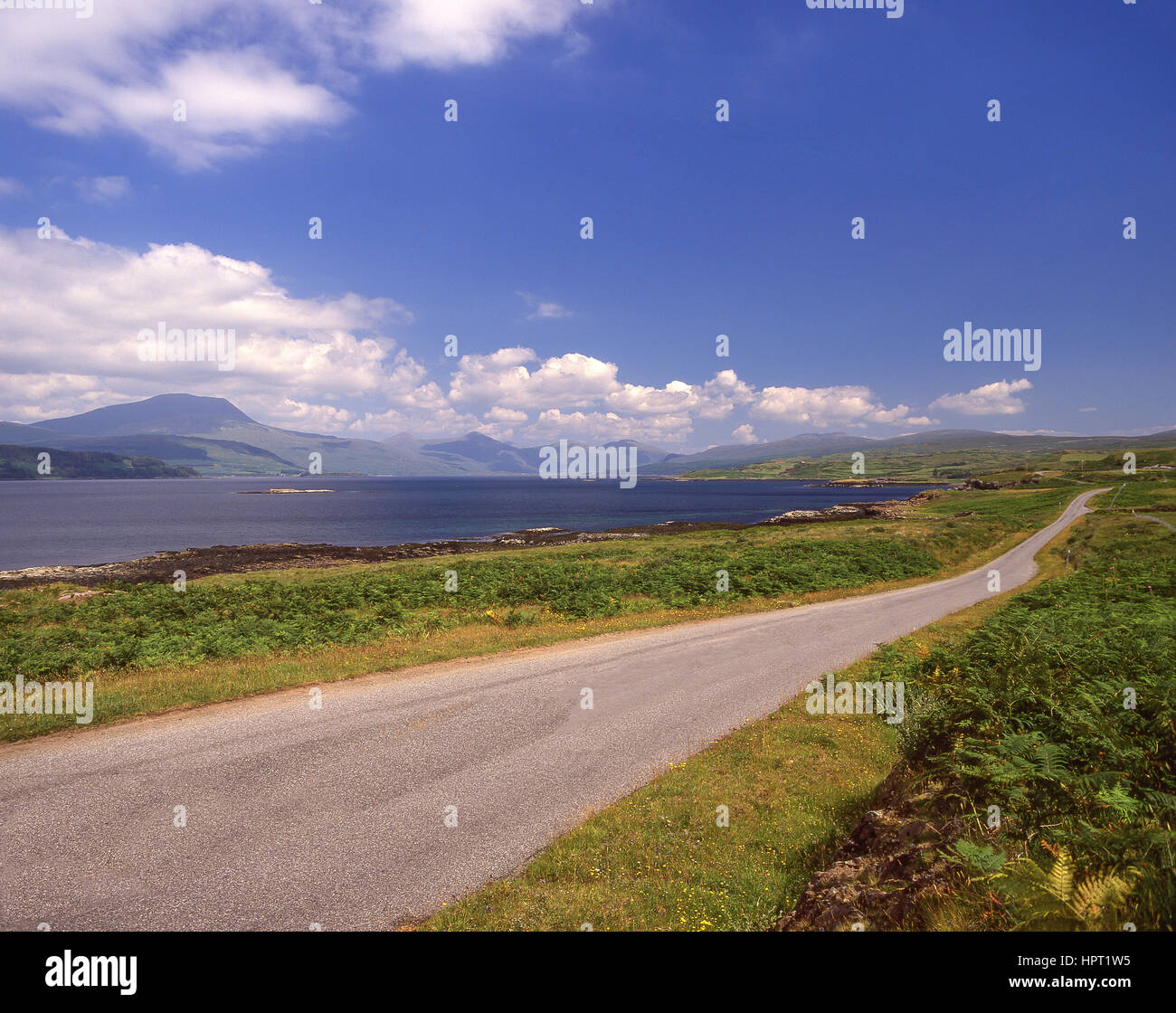 Road by Loch Scridain, Isle of Mull, Argyll and Bute, Scotland, United Kingdom - Stock Image